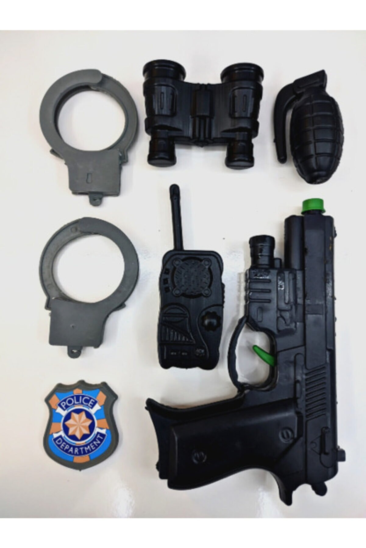 SLV 7 Parça Polis Oyuncak Seti Sesli Glock Tabanca Bomba Dürbün Polis Rozeti Kelepçe Telsiz