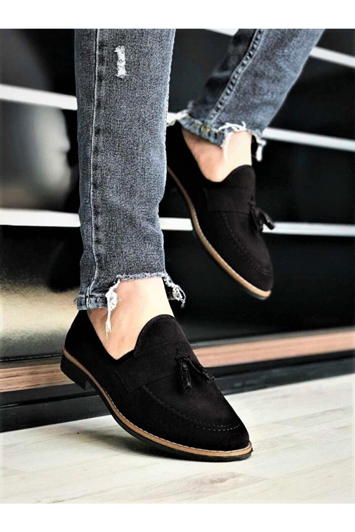 Nisaca Erkek Siyah Süet Püsküllü Ayakkabı