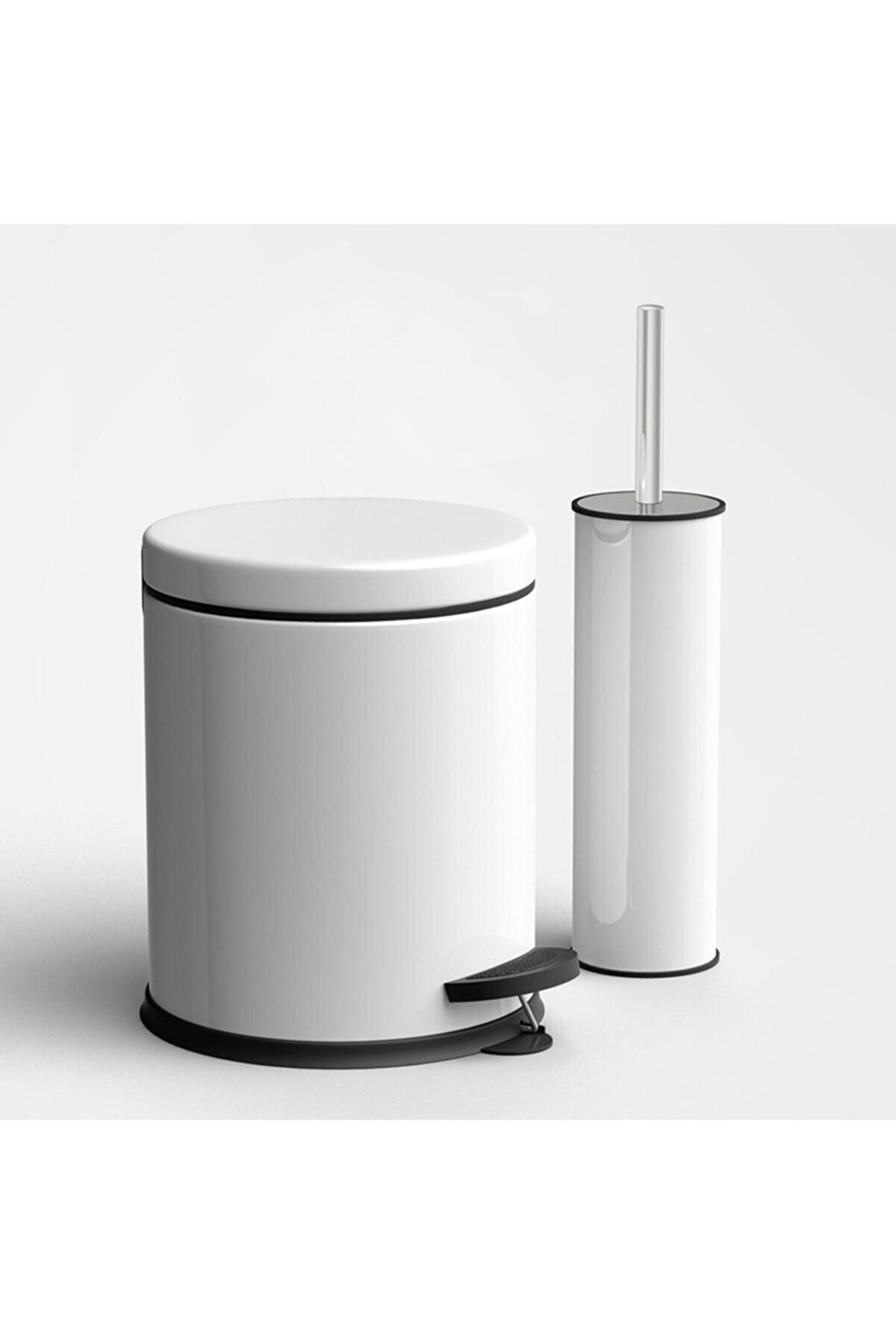 Fevito Beyaz 3 Litre 2'li Banyo Seti Pedallı Çöp Kovası Wc Klozet Tuvalet Fırça Seti Banyo Çöp Kovası