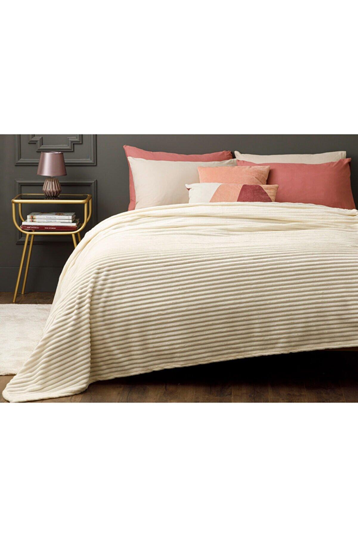 English Home Plain Super Soft Çift Kişilik Battaniye 200x220 Cm Kırık Beyaz