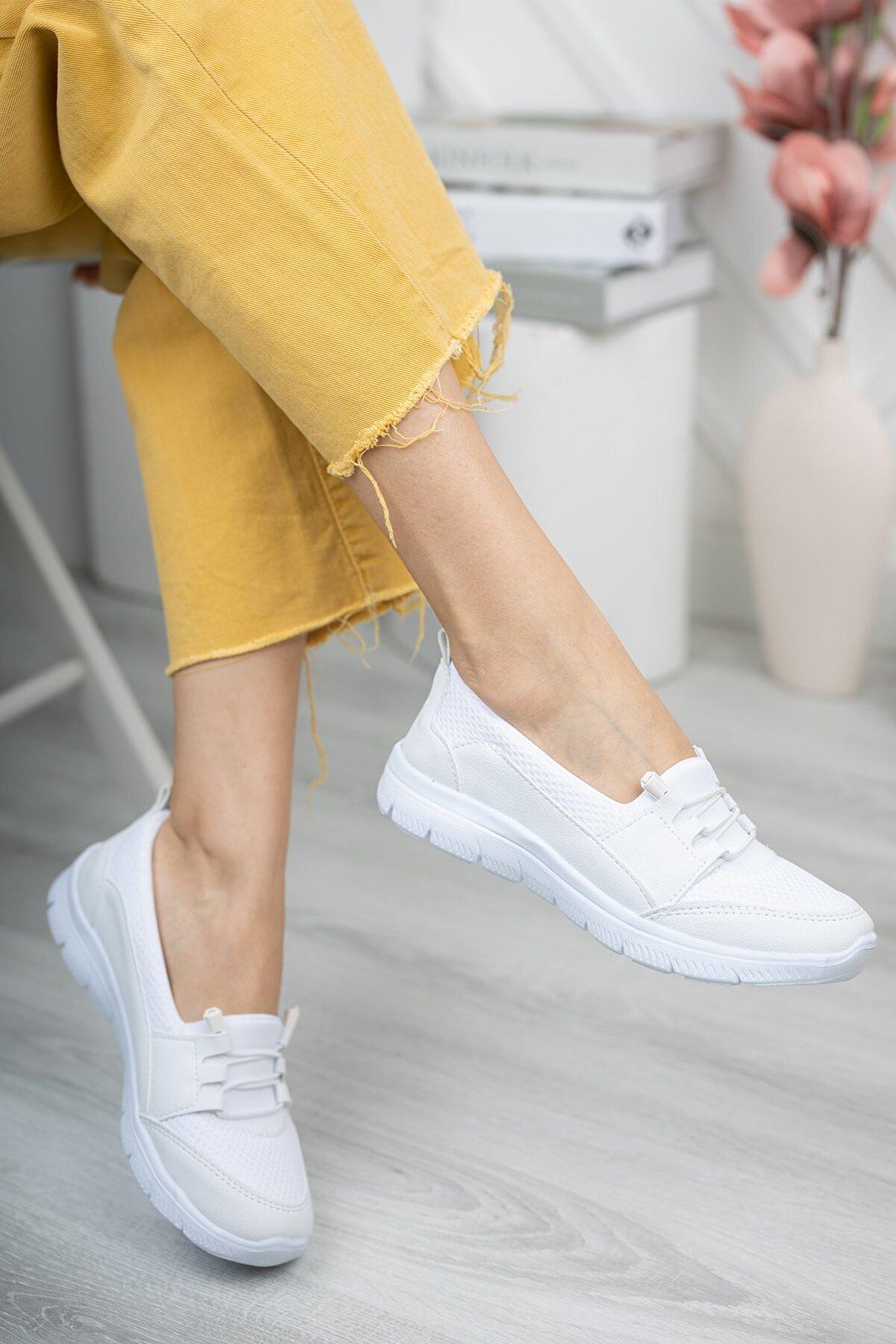 Fogs Kadın Beyaz Sneaker Rahat Taban Günlük Ayakkabı