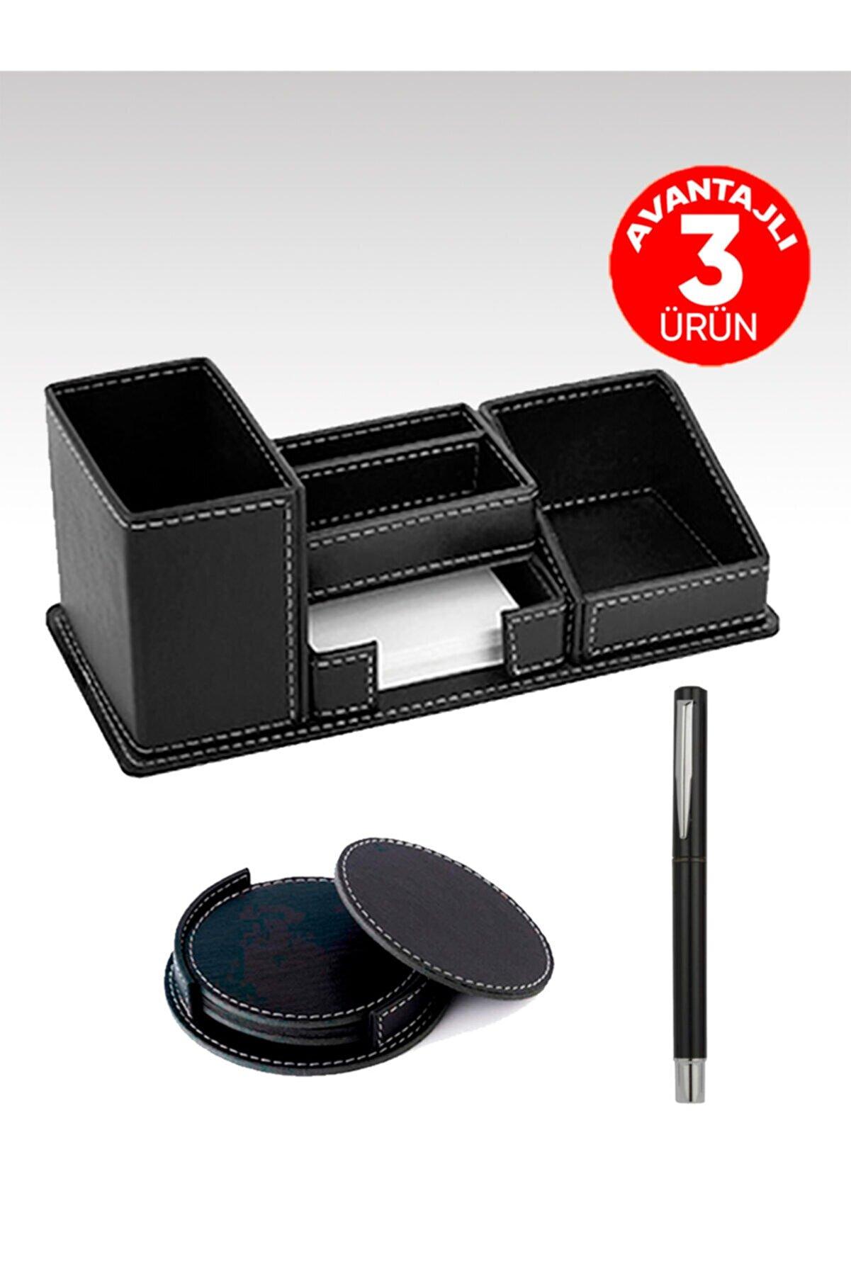 EGESTA Suni Deri Kalemlik Set - 4'lü Deri Bardak Altlığı + Roller Imza Kalemi Hediyeli