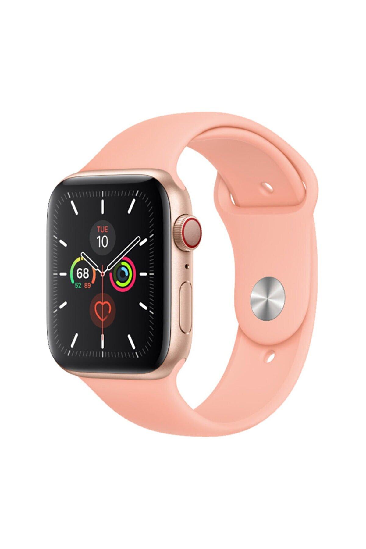 Cimricik Apple Watch Kordon 2 3 4 5 6 Se Seri 38 Mm Ve 40 Mm Silikon Kordon Kayış - Pudra Pembe