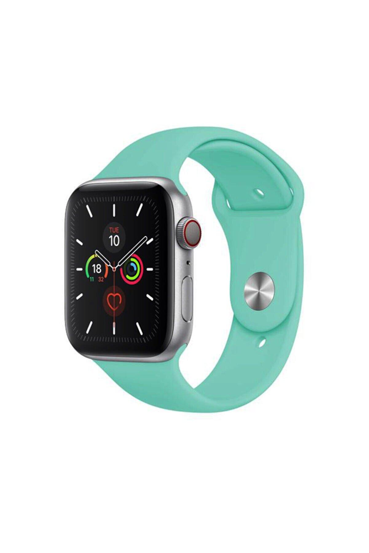 Cimricik Apple Watch Kordon 2 3 4 5 6 Se Seri 38 Mm Ve 40 Mm Silikon Kordon Kayış - Su Yeşili