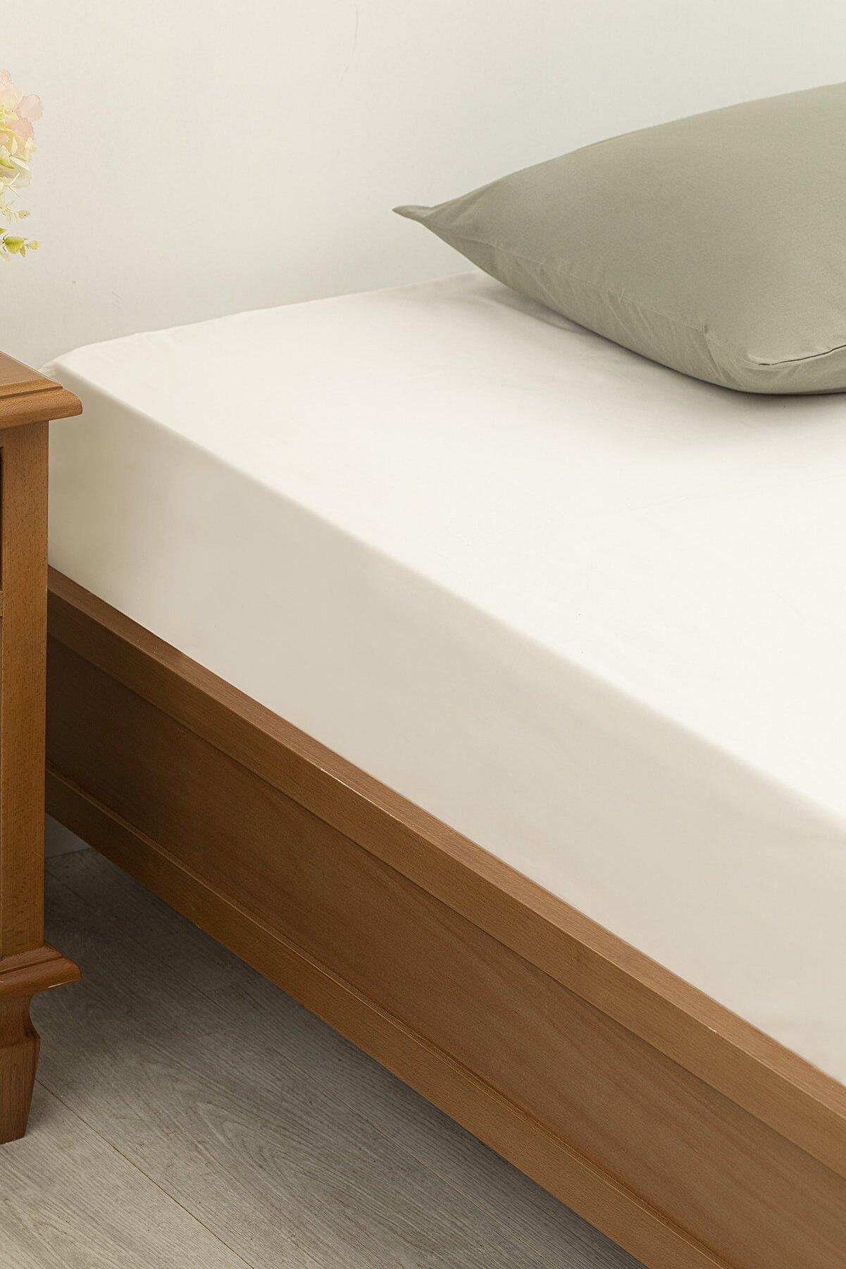 English Home Düz Pamuklu Çift Kişilik Lastikli Çarşaf 160x200 Cm Kırık Beyaz