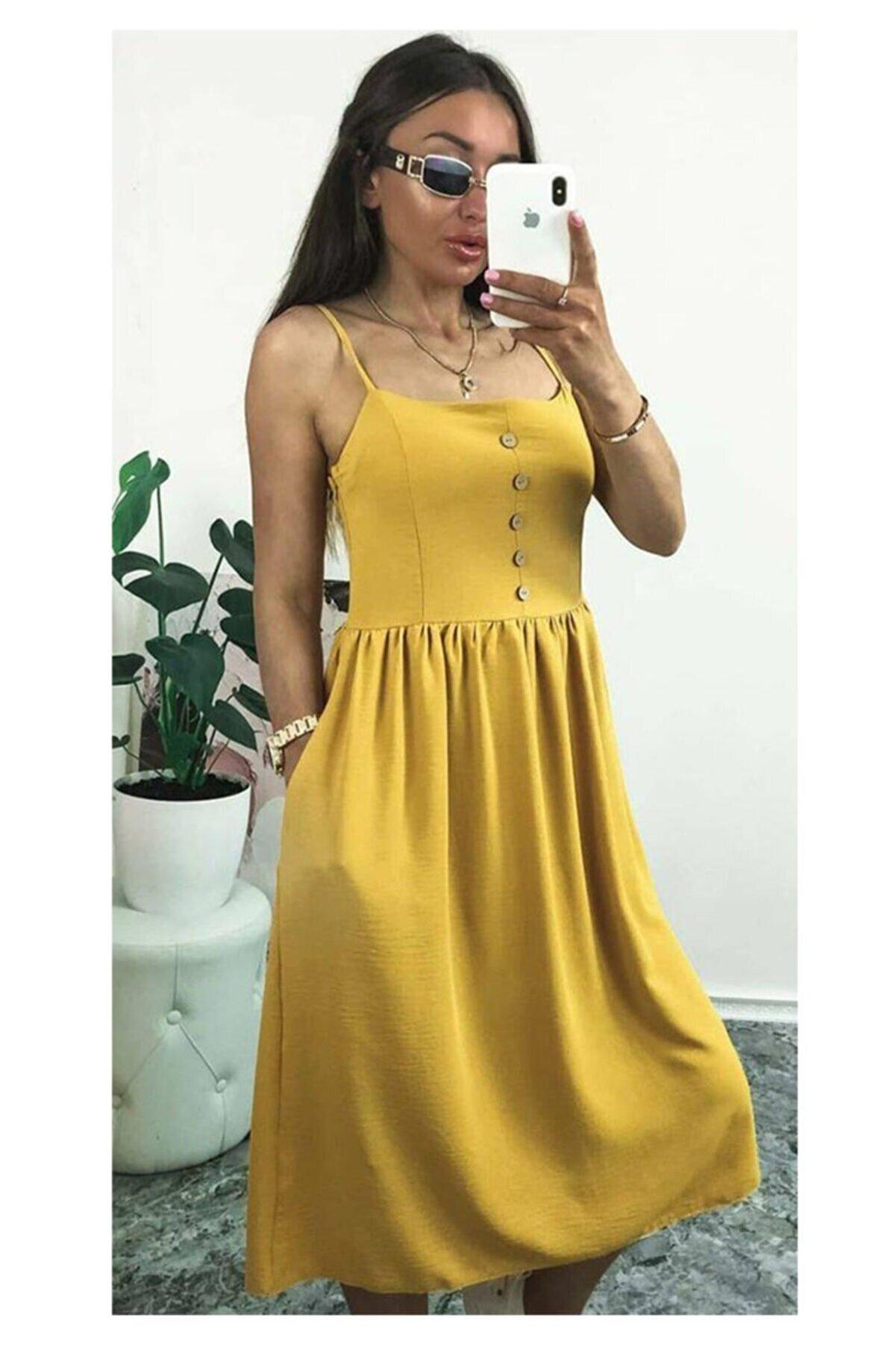 ELBİSENN Yeni Model Kadın Ip Askılı Düğme Detay Midi Boy Elbise (hardal)