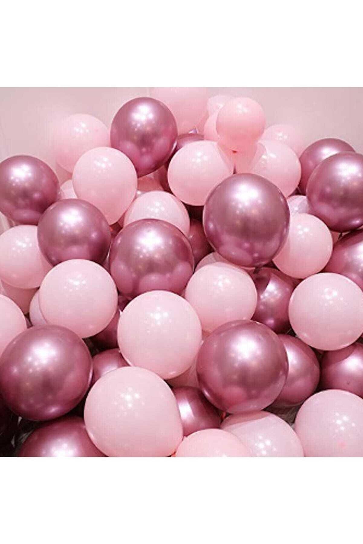 Magic Hobby Krom Pembe Ve Makaron Pembe Renk 15 Li Balon