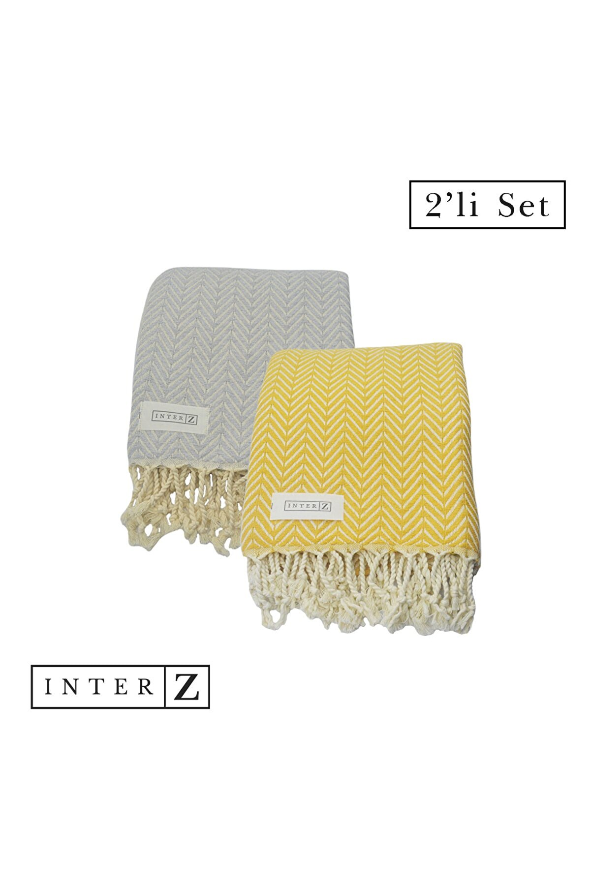 INTER Z 2'li Set Peştemal Plaj Havlusu , %100 Pamuk , Xxl 100x180cm, Marmaris, Bal Sarısı-gri