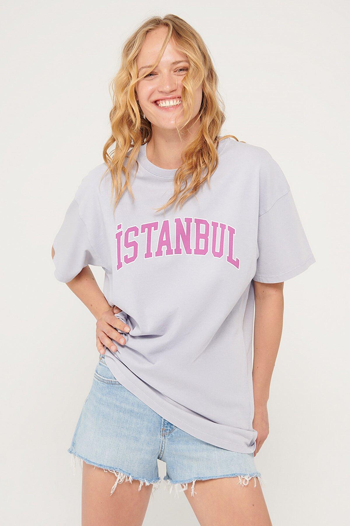 Mavi Kadın İstanbul Baskılı Gri Tişört 1601095-34681