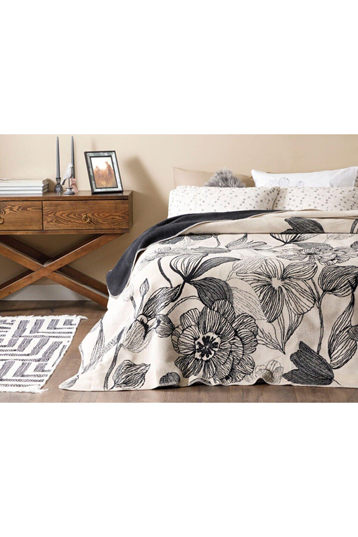 English Home Dark Mono Pamuklu Çift Kişilik Battaniye 200x220 Cm Bej - Siyah