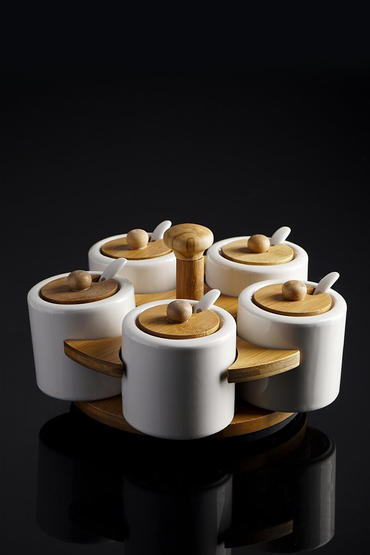 ACAR La Pure 5'li Dönerli Bambu Standlı Yuvarlak Porselen Baharatlık