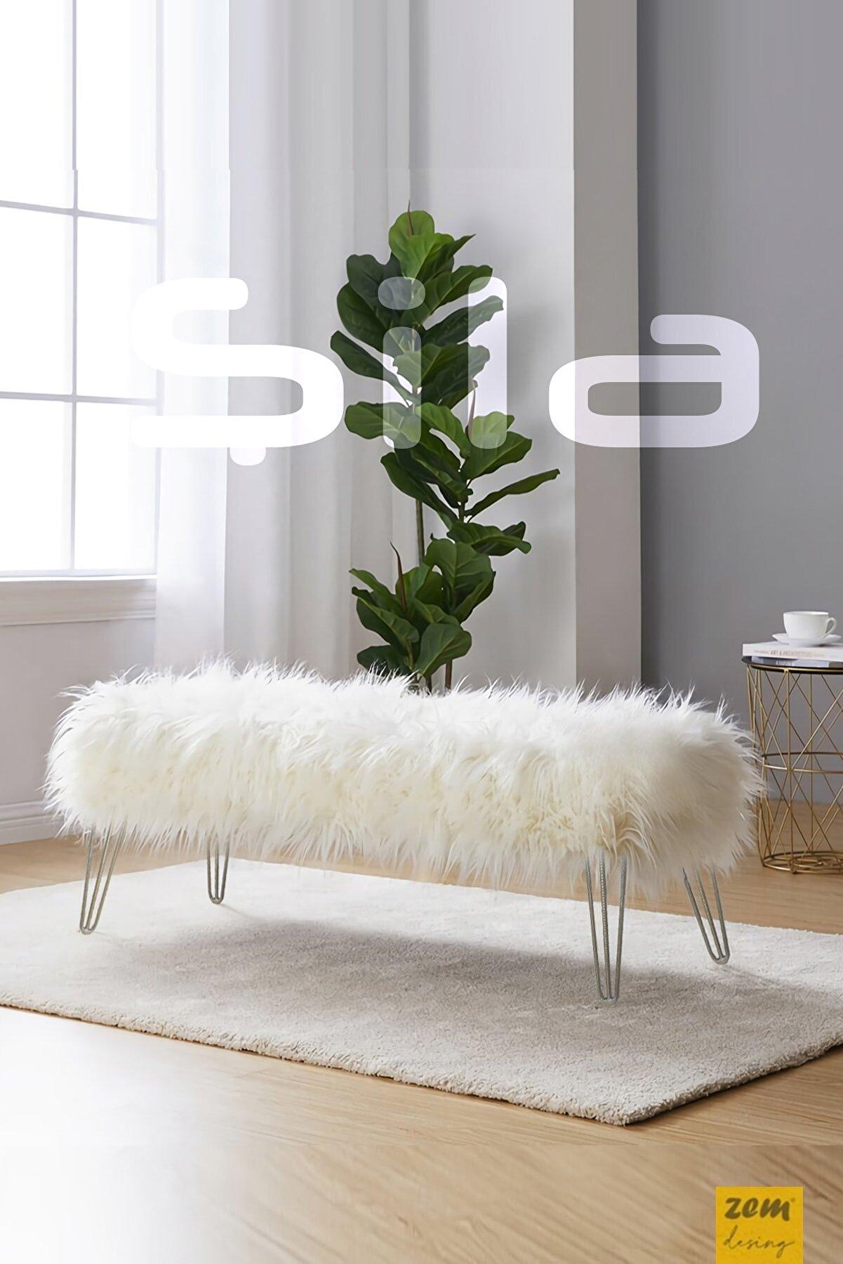 Zem Şila Bench Beyaz Peluş - Silver Ayaklı 120 Cm