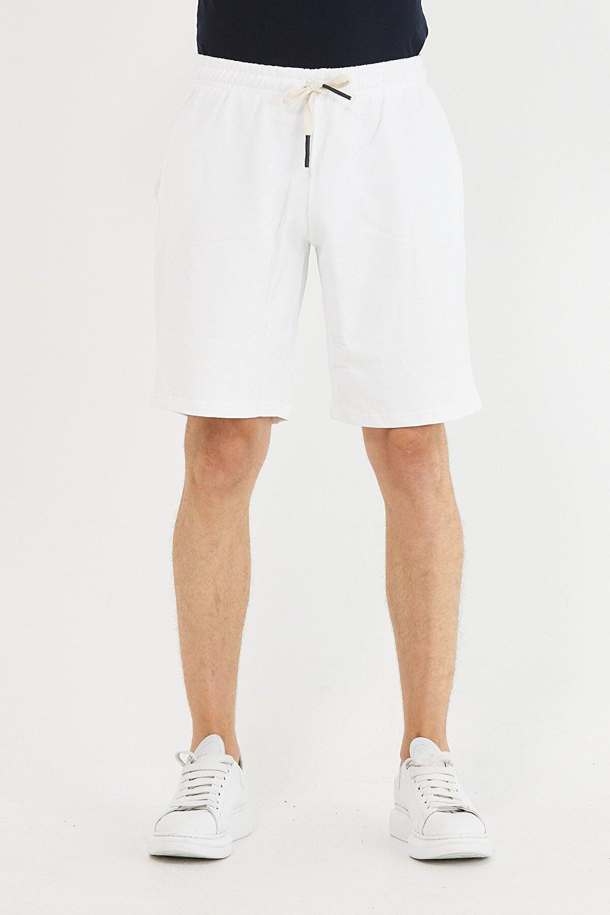 Tarz Cool Erkek Beyaz Beli Lastikli Cepli Şort & Bermuda