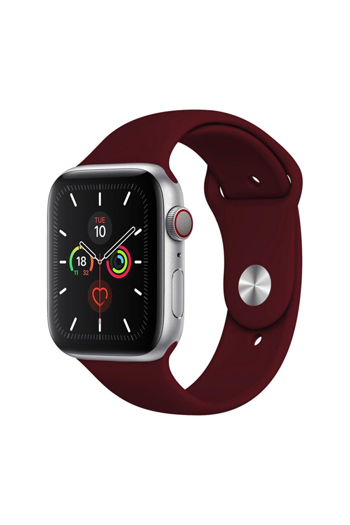 Cimricik Apple Watch Kordon 2 3 4 5 6 Se Seri 38 Mm Ve 40 Mm Silikon Kordon Kayış - Bordo