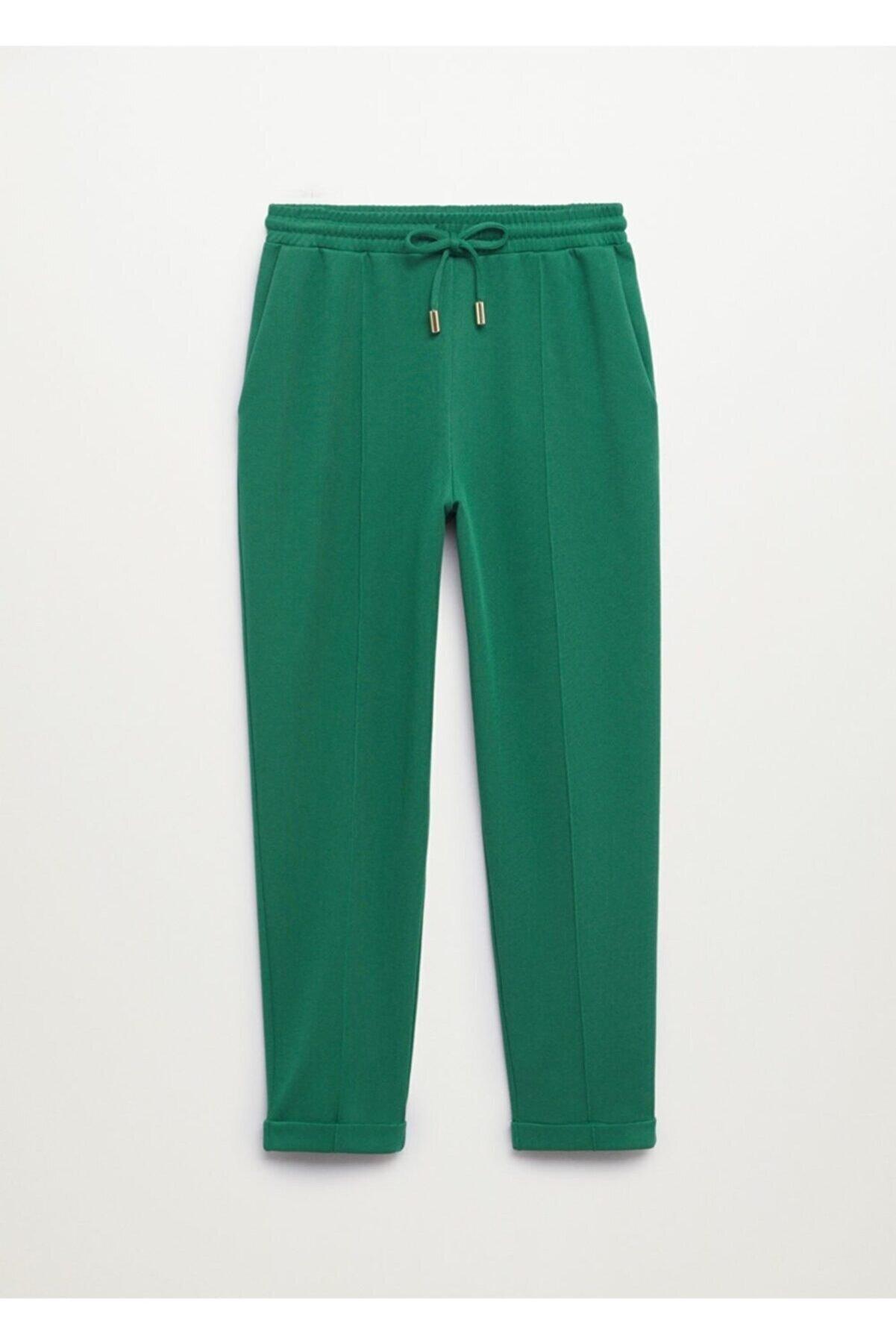 Mango Kadın Koyu Yeşil Jogger Tarz Pamuklu Pantolon
