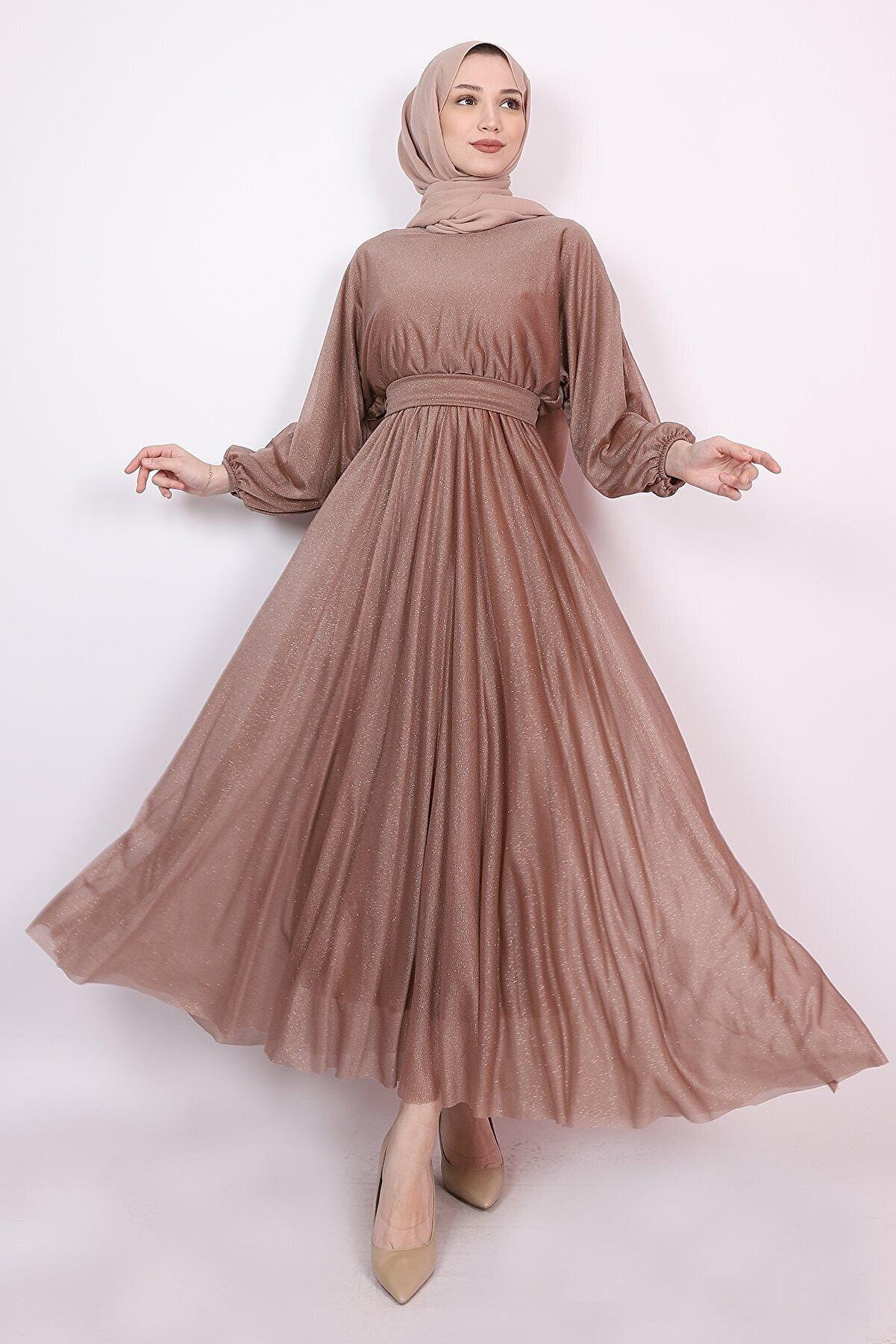 Aranlı tekstil Simli Salaş Tesettür Elbise