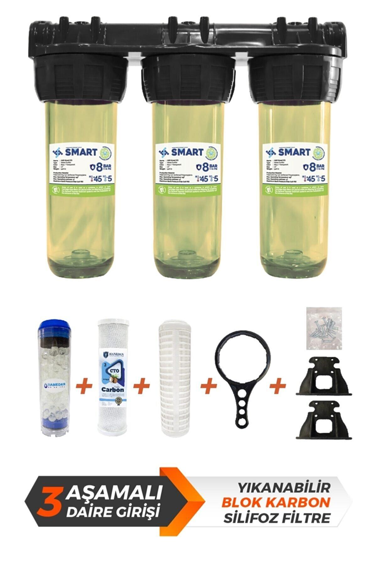 Hanedan Smart 10 Inc Silifoz Filtreli Kireç Ve Klor Önleyici 3lü Daire Ve Bina Girişi Su Arıtma Cihazı