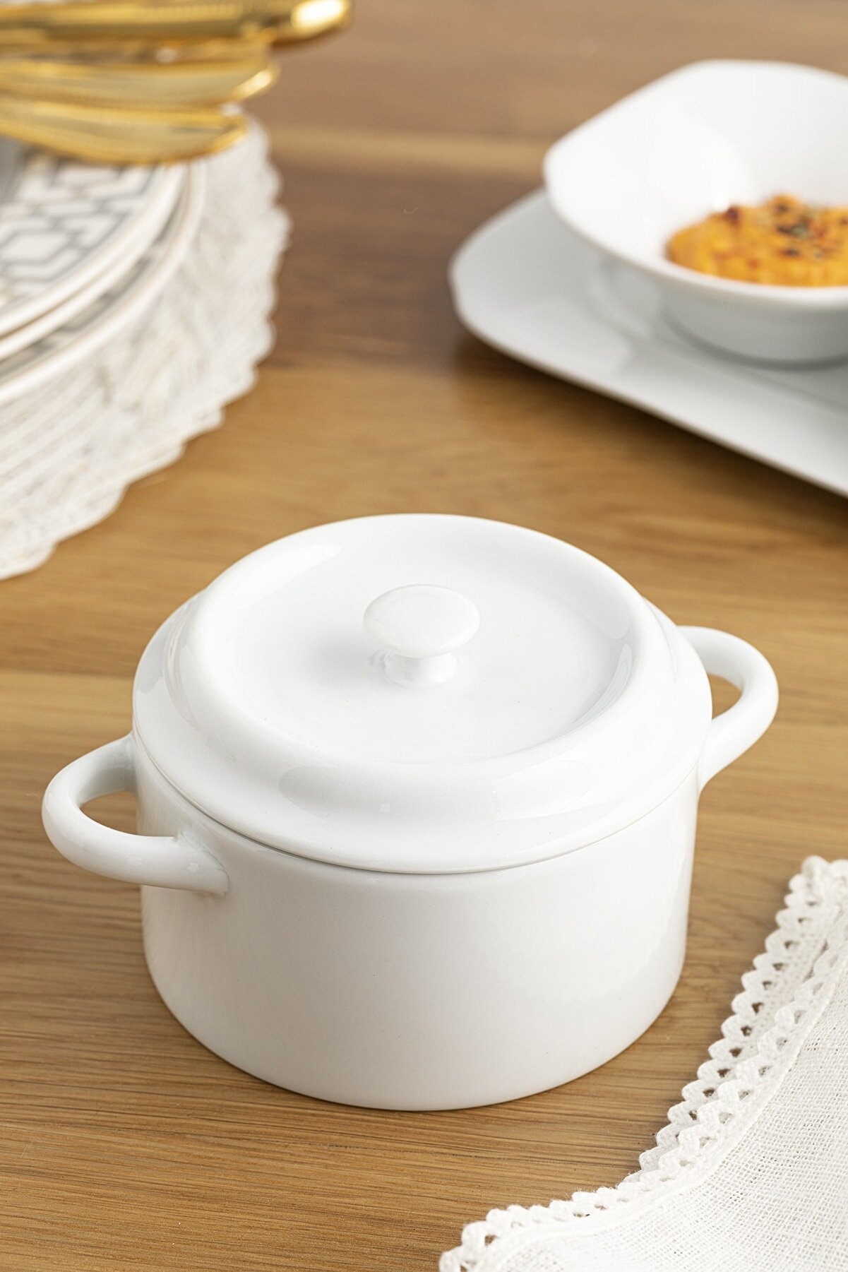 English Home Classy Porselen Tencere 325 Ml Beyaz