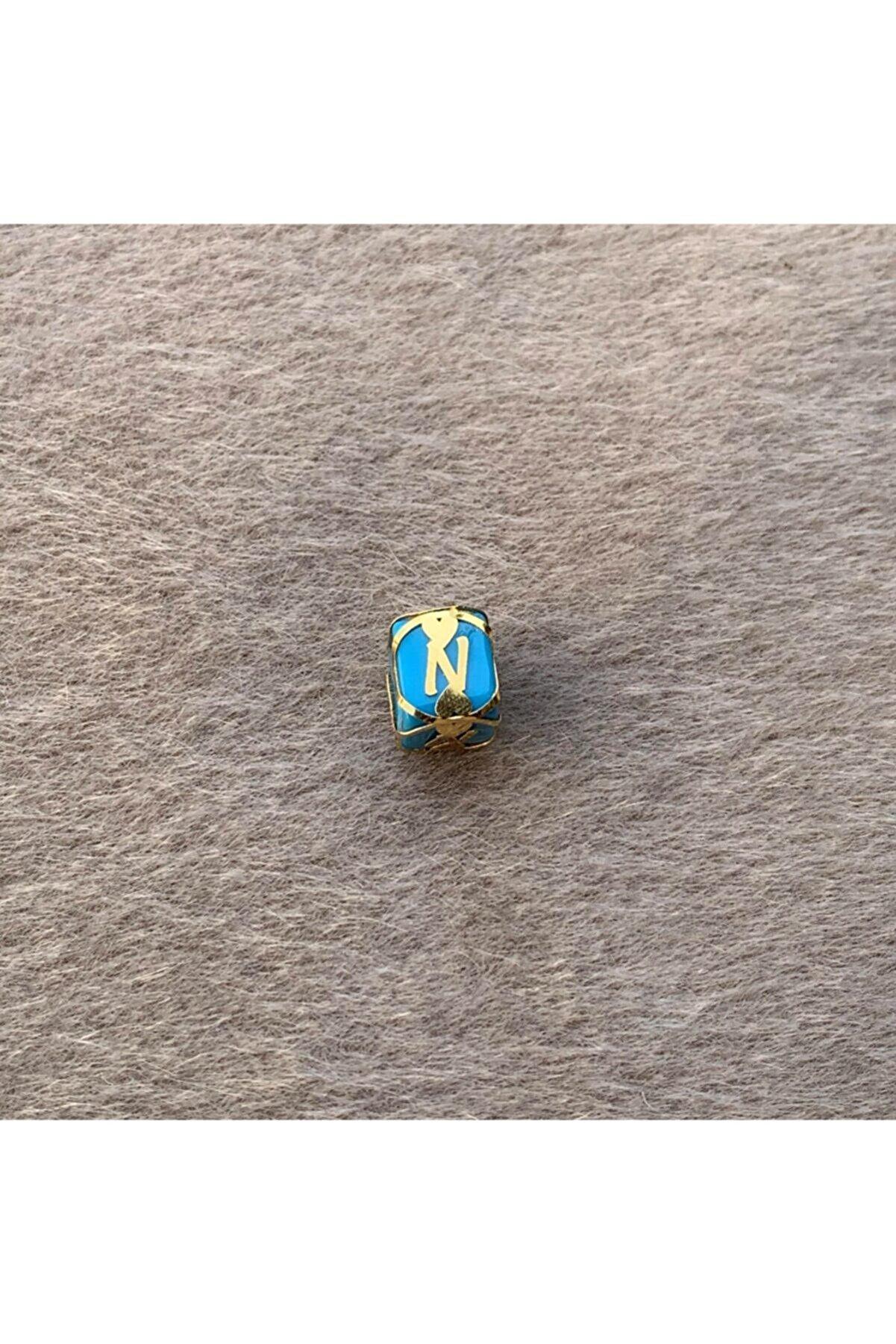 Bayar Gold 14 Ayar Altın N Harfli Altın Kafesli Mavi Boncuk