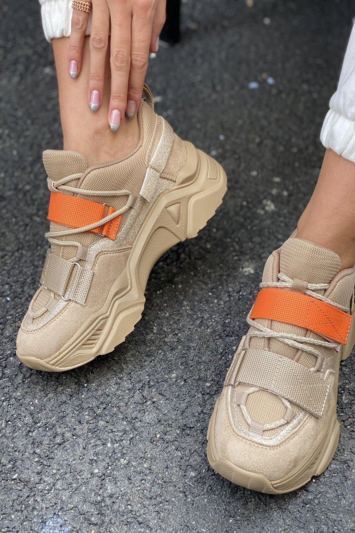 İnan Ayakkabı Kadın Nude&Turuncu Ayakkabı&Sneaker INASPORT10