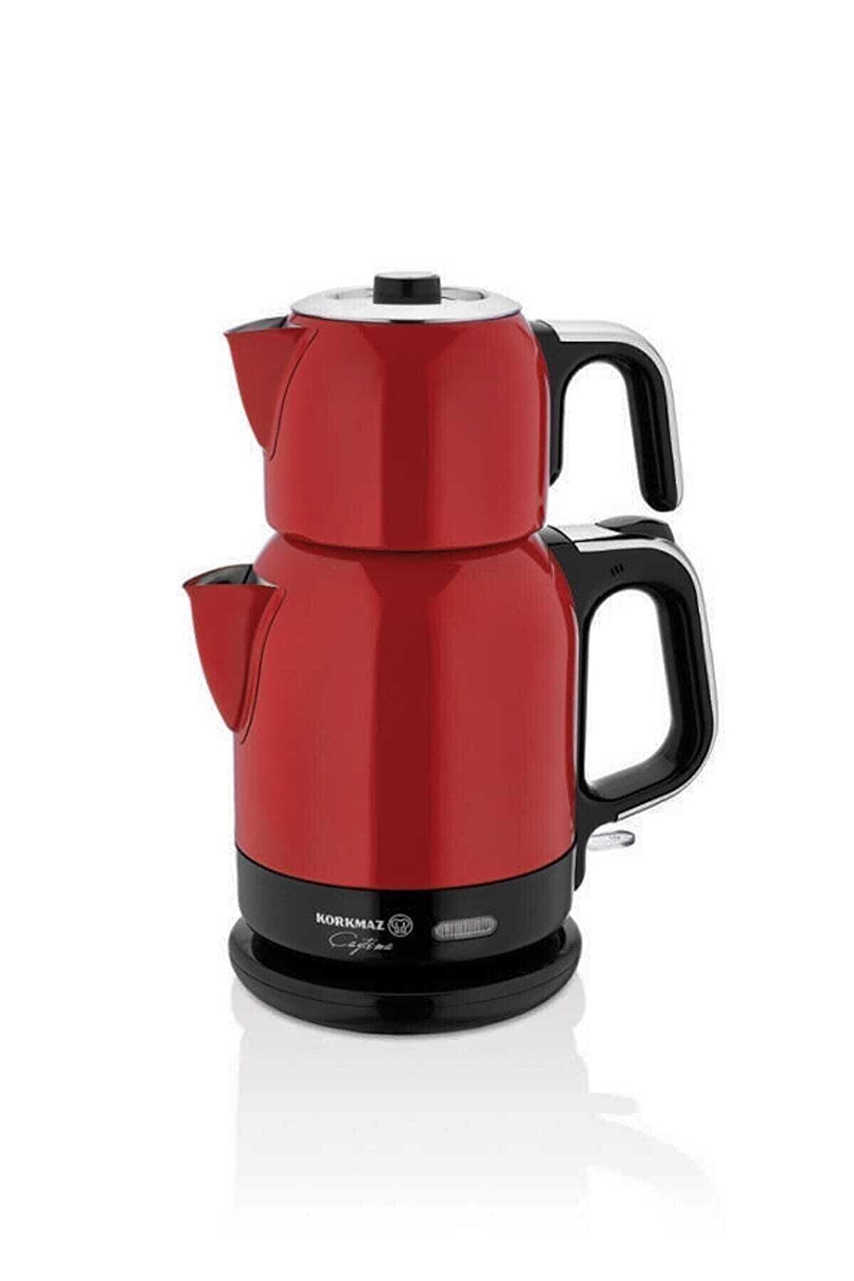 KORKMAZ Kırmızı Krom Çaytema Elektrikli Çaydanlık A331-05