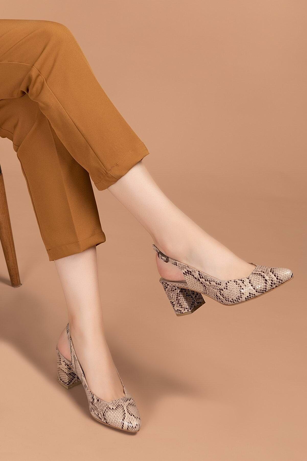 Gondol Kadın Hakiki Deri Desenli Topuklu Ayakkabı