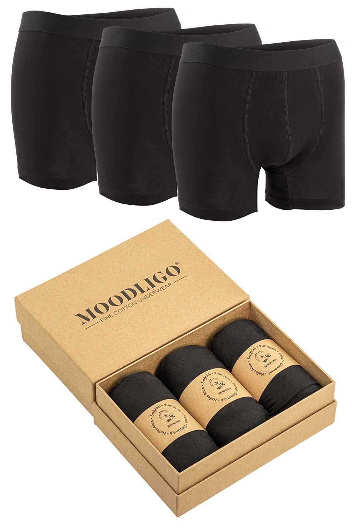 Moodligo 3'lü Erkek Fit Boxer - Siyah