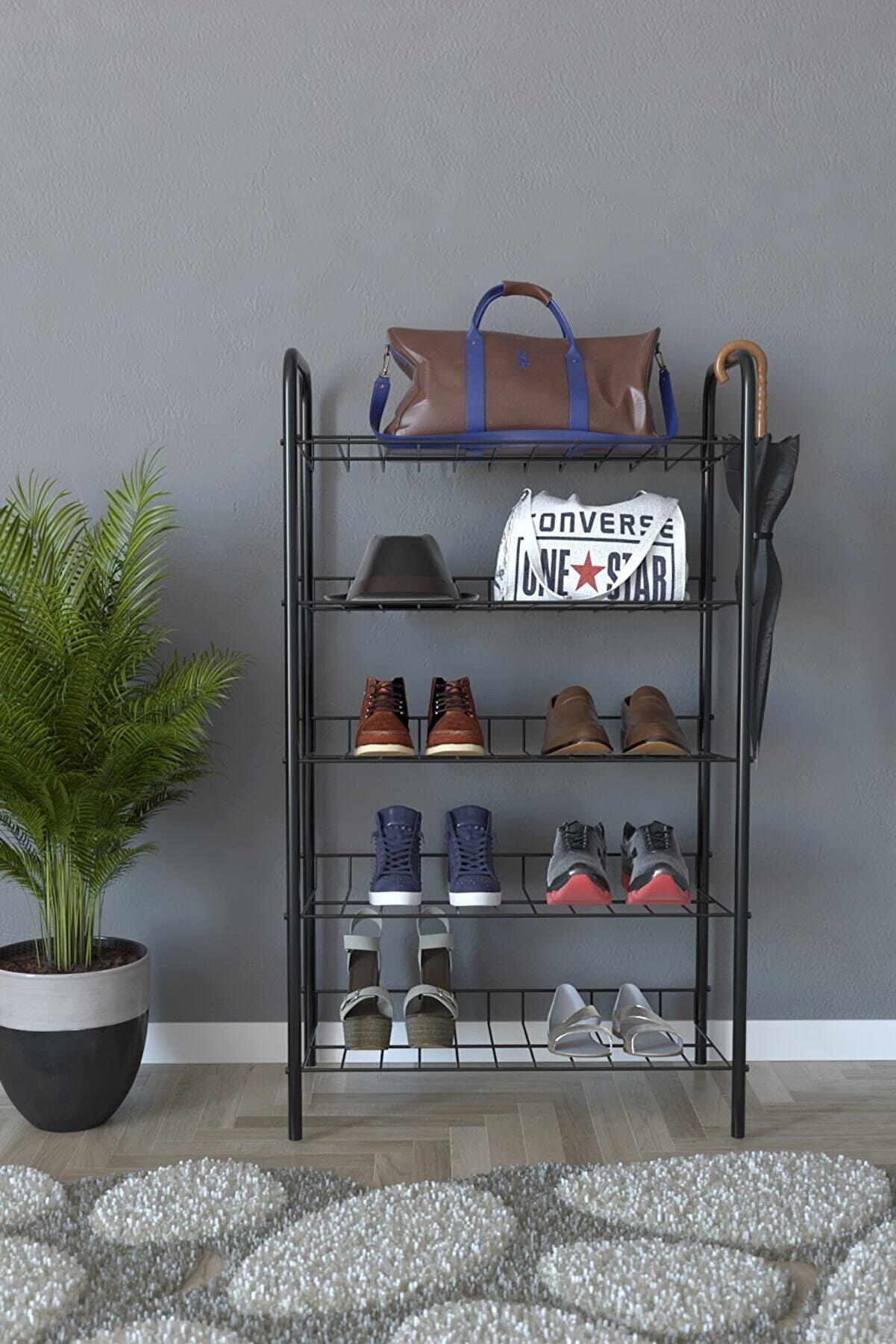 Remaks 5 Raflı Ayakkabılık Metal Ayakkabılık Çok Amaçlı Dolap - Siyah