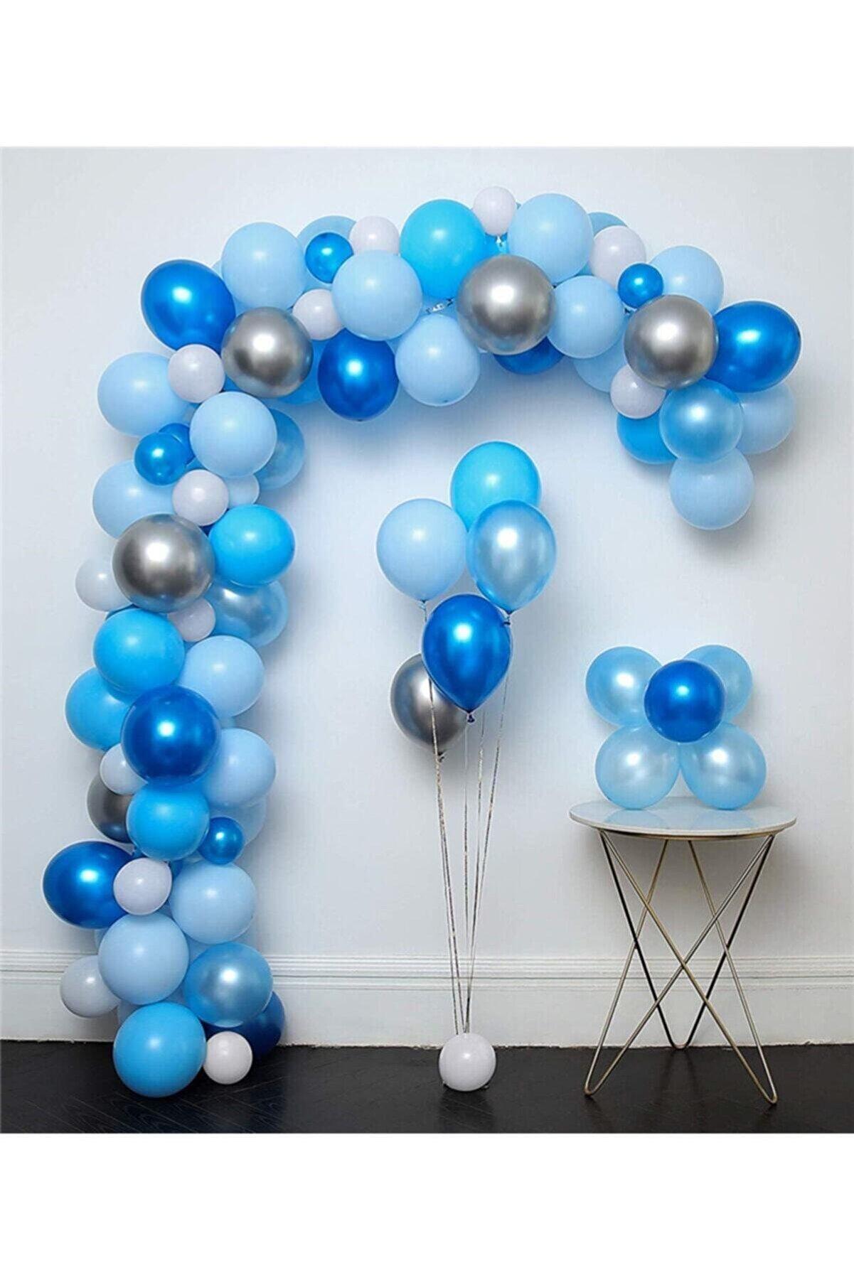 MERİ PARTİ 100 Adet Lacivert Mavi Beyaz Metalik Balon Gri Krom Balon Zincir