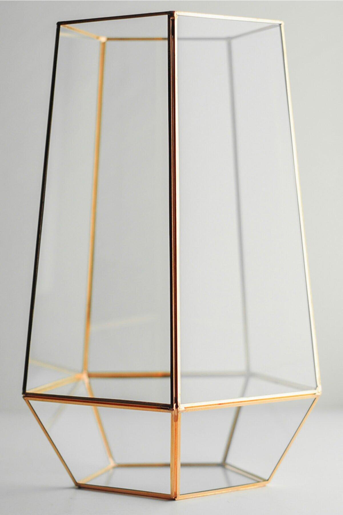 El Crea Designs Geometrik Teraryum Fanus Vazo Jardinyer Organizasyon Düğün Nişan Söz Bakır Rose Gold 31x19x18cm