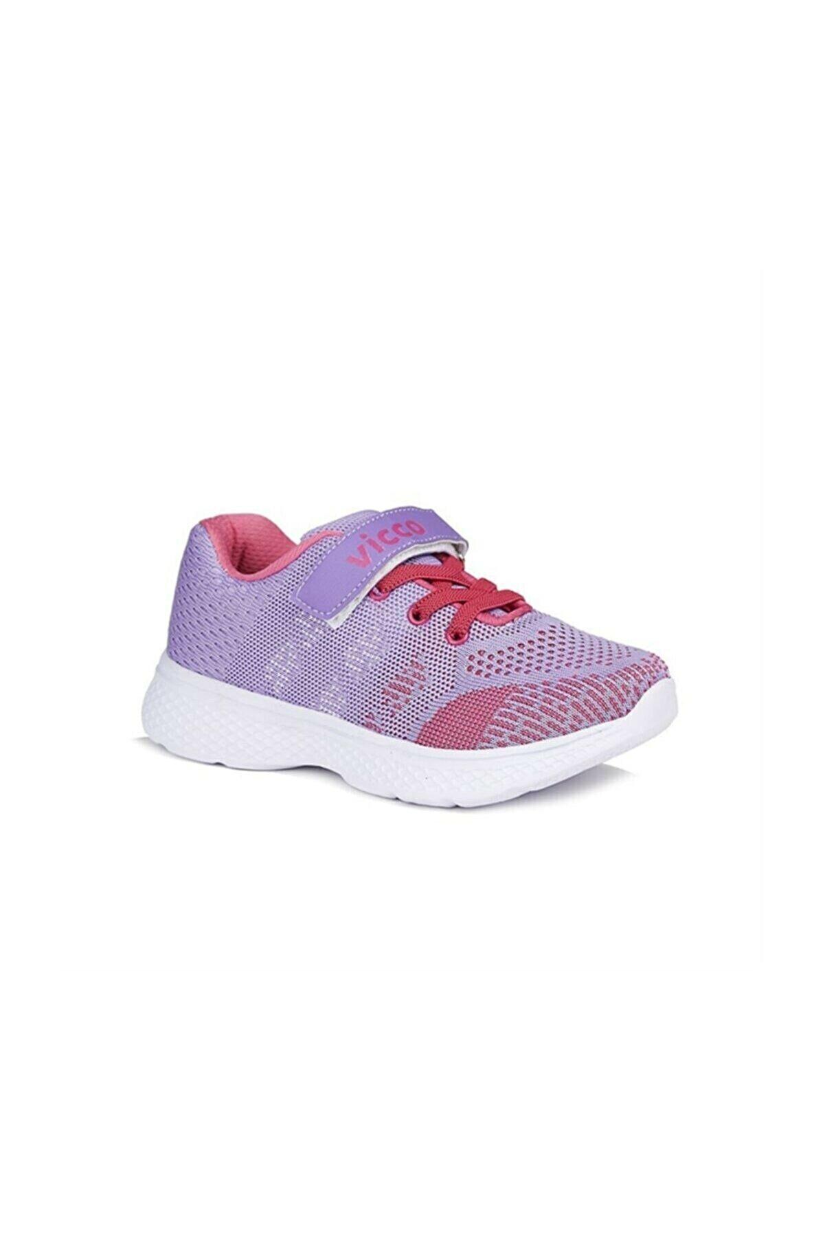 Vicco Tam Ortopedik Lila Esnek Taban Fileli Cırtlı Yürüyüş-koşu Kız Çocuk Sneaker Ayakkabı