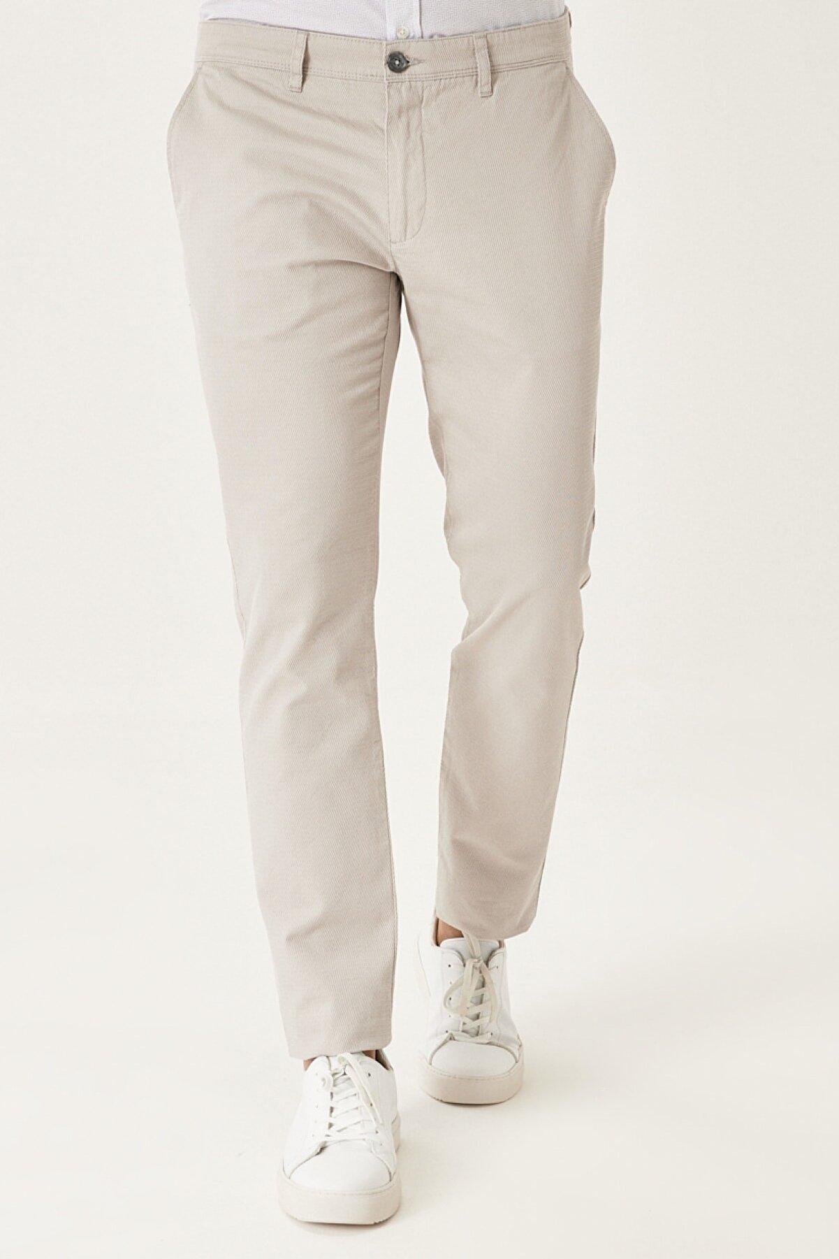 Altınyıldız Classics Erkek Taş Kanvas Slim Fit Dar Kesim Yan Cep %100 Koton Chino Pantolon