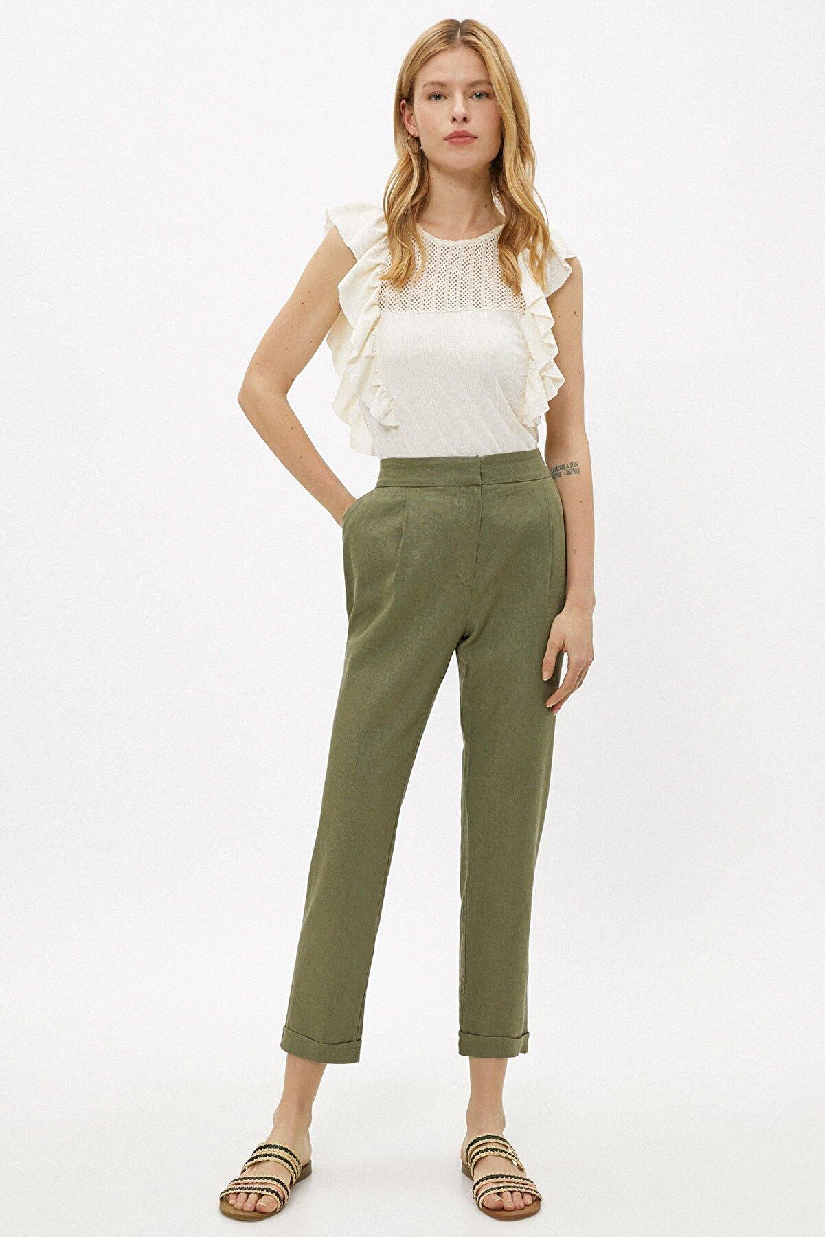 Koton Kadın Yeşil Keten Pantolon