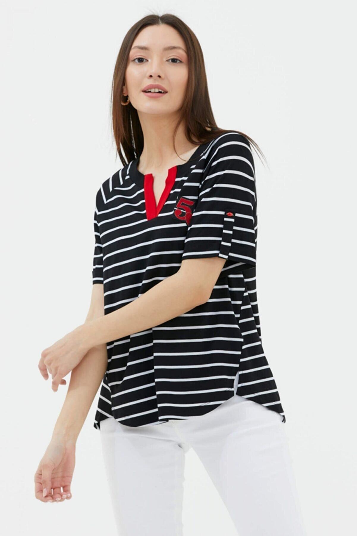Sementa Apolet Kol V Yaka Tshirt - Siyah