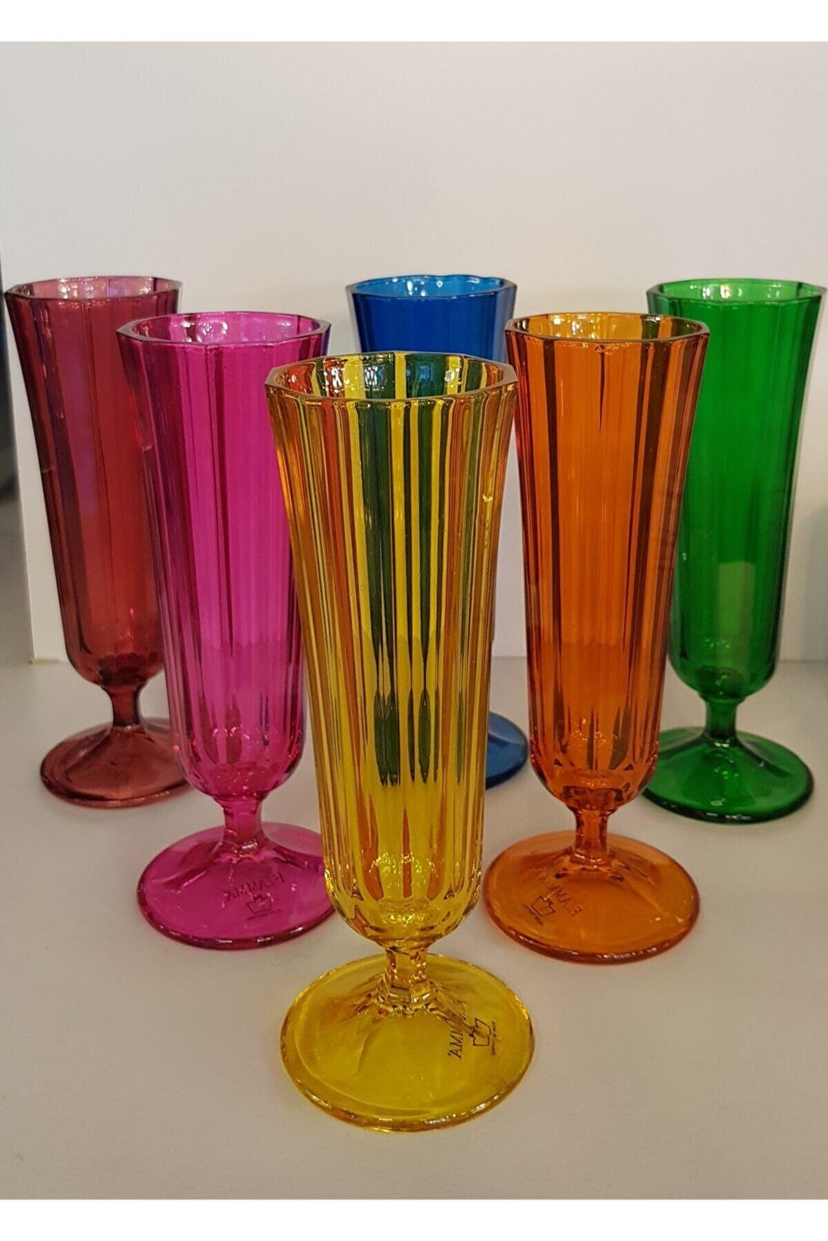 Porland 6 Renk Kahve Yanı Flüt Bardak 6'lı 130 cc