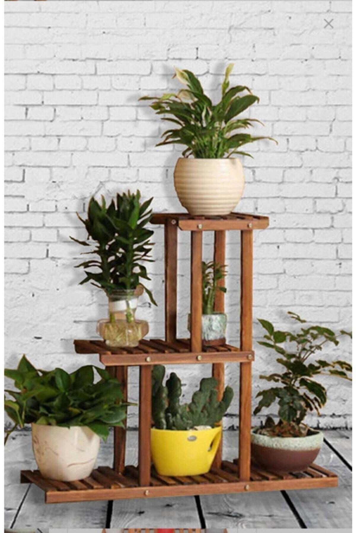Ladin Sanat Atölyesi Karakalem Ahşap Ceviz Ahşap Çiçeklik Dekoratif Saksı Standı Model1
