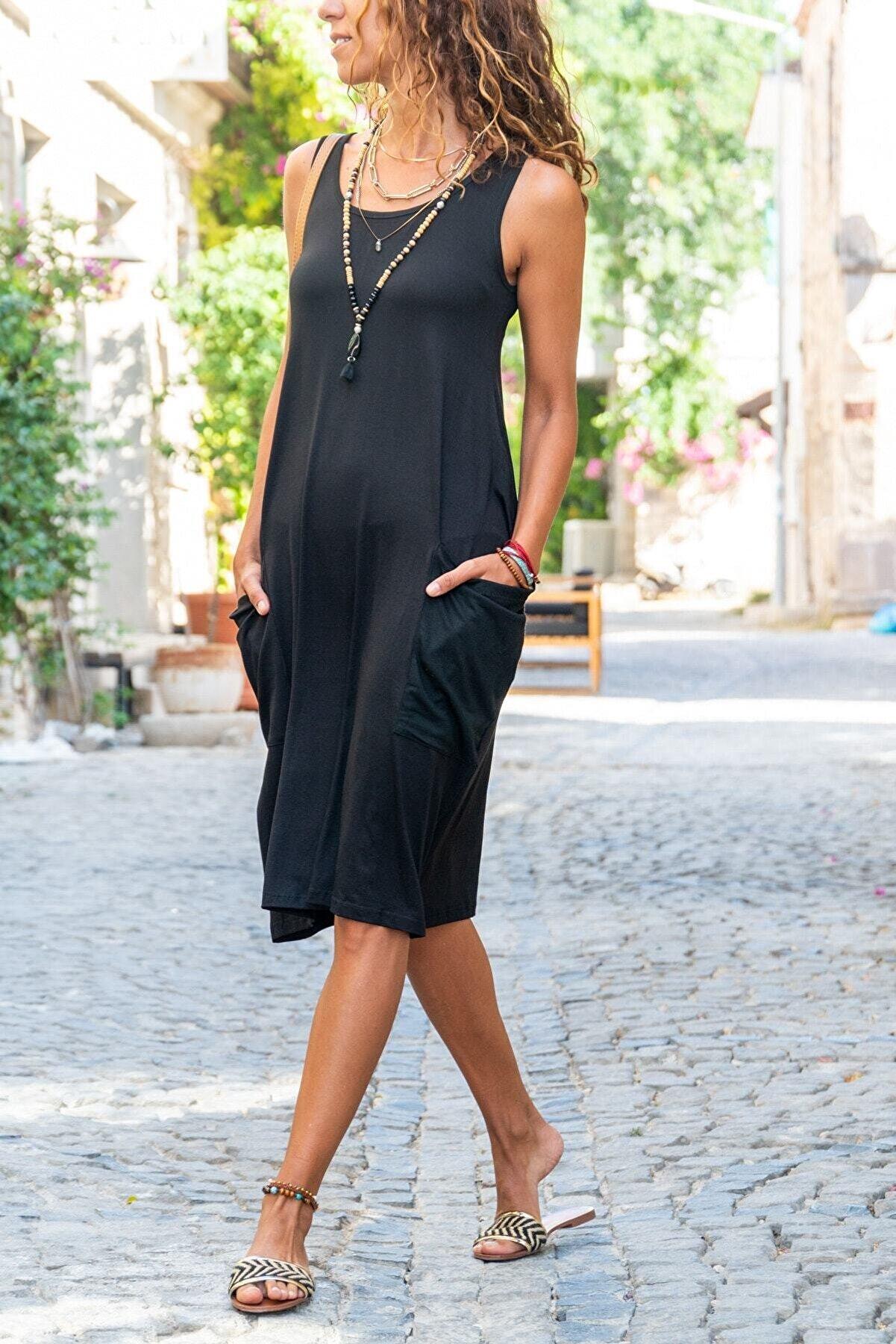 TrendNera Kadın Siyah Salaş Elbise