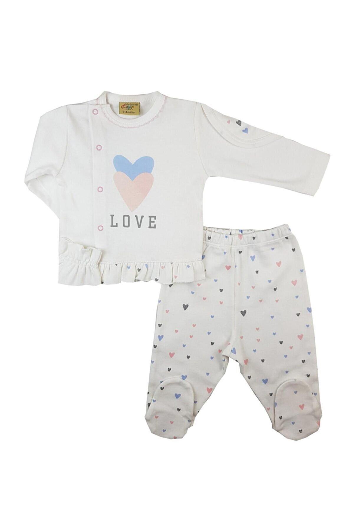 Luggi Baby Unisex Bebek Ekru Organic Love Patikli Takım 6441