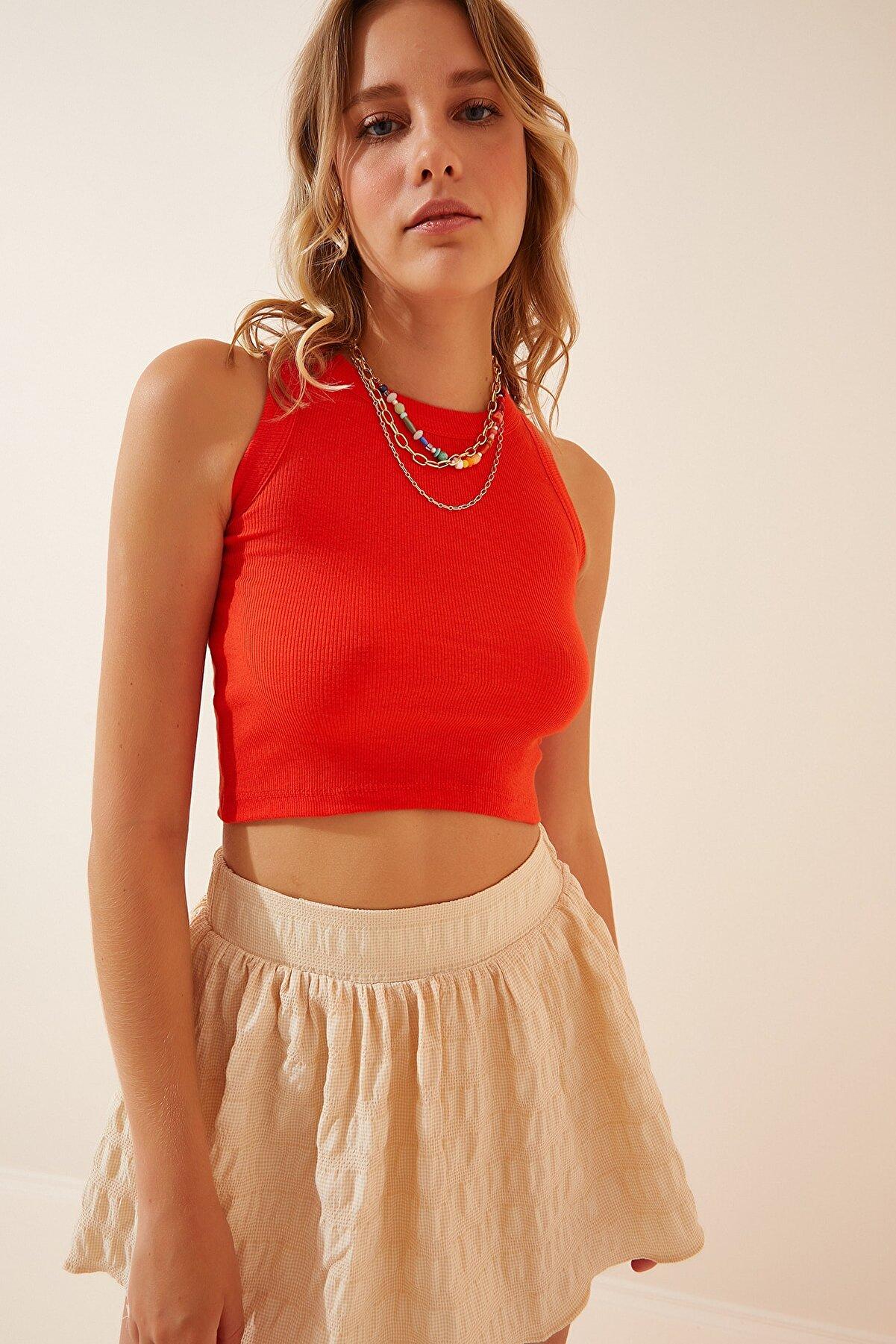 Happiness İst. Kadın Oranj Kolsuz Fitilli Crop T-Shirt NJ00054