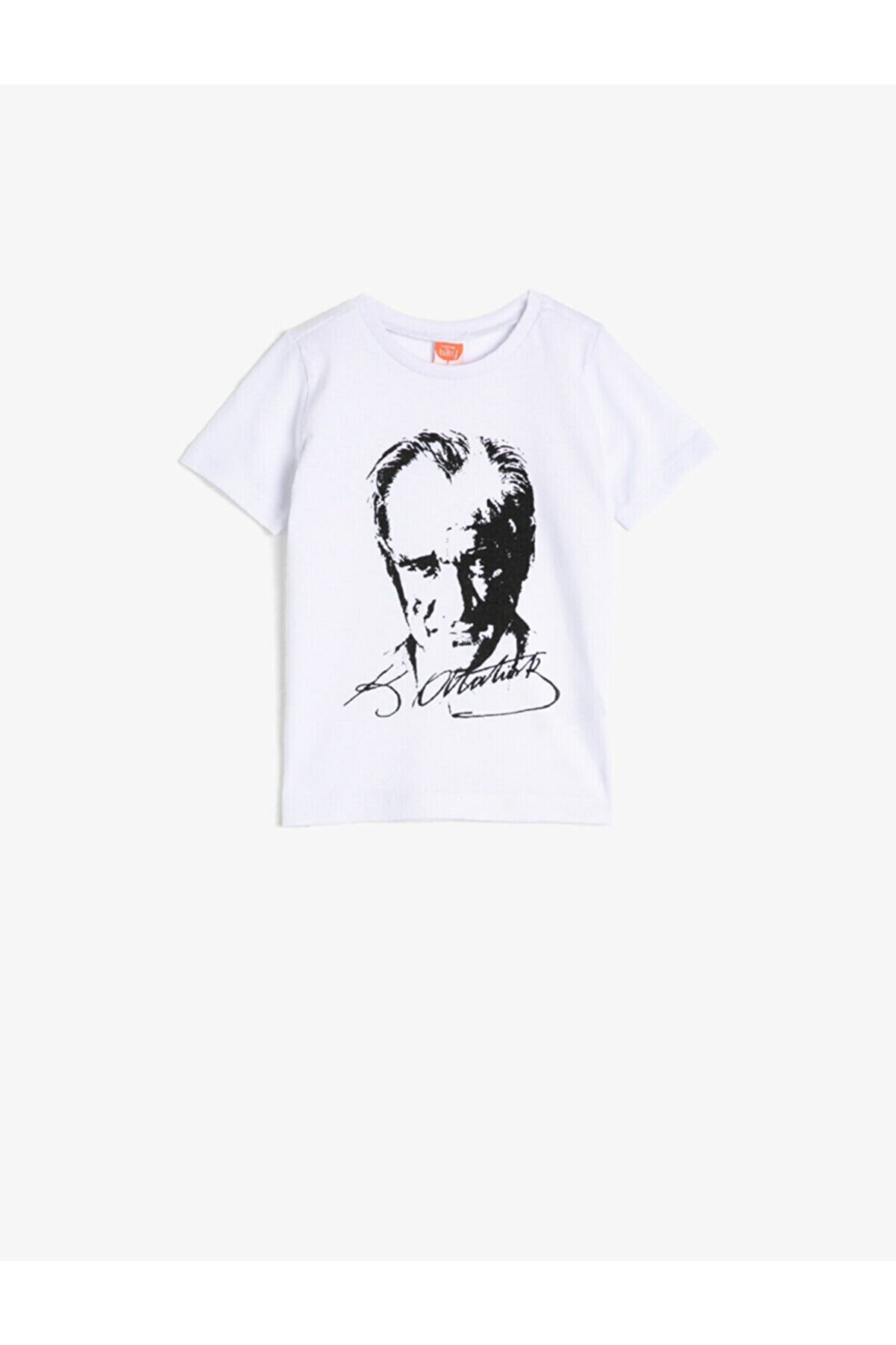 Koton Erkek Bebek Beyaz Bisiklet Yaka Atatürk Baskılı Tişört