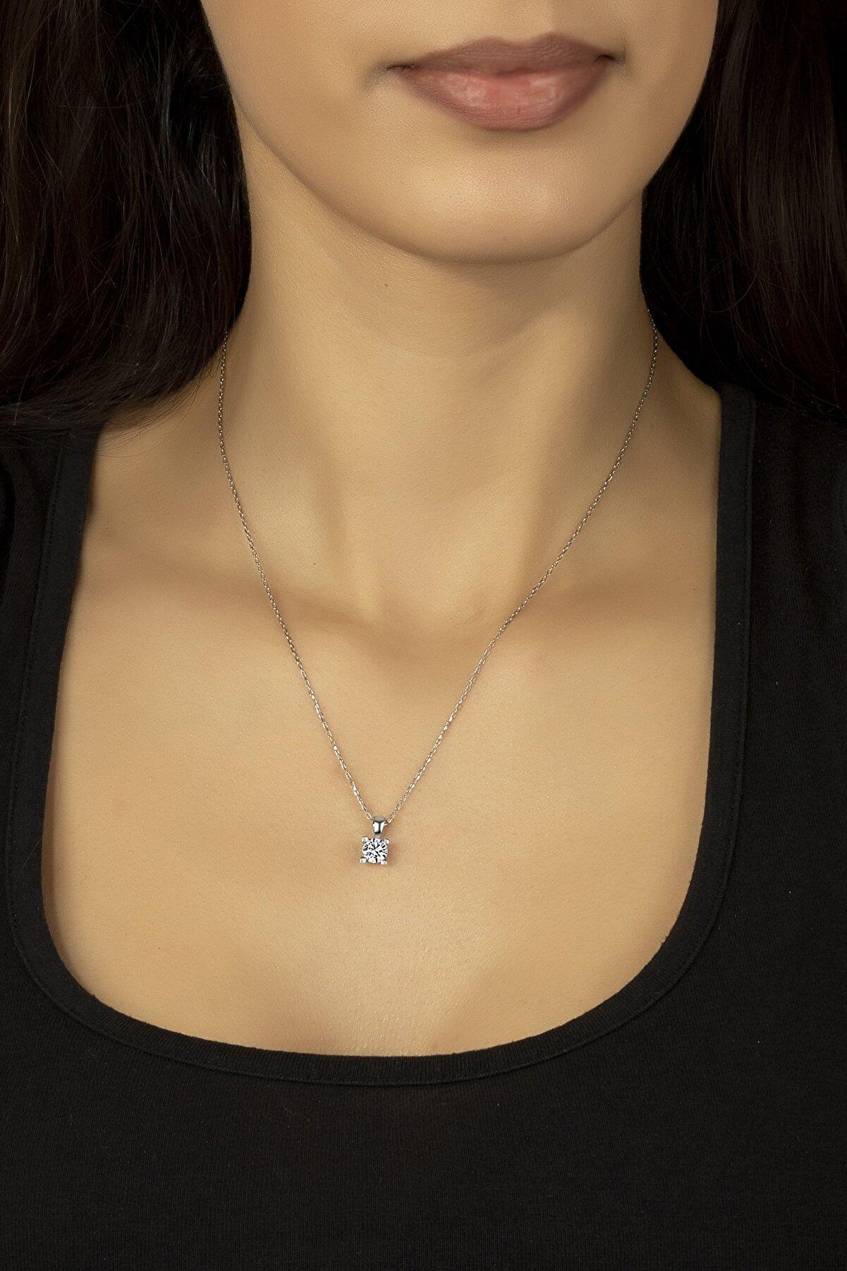 Kara Jewelry Gümüş Kolye Orijinal Swarovskı Taşlı Tektaş Kadın Kolye