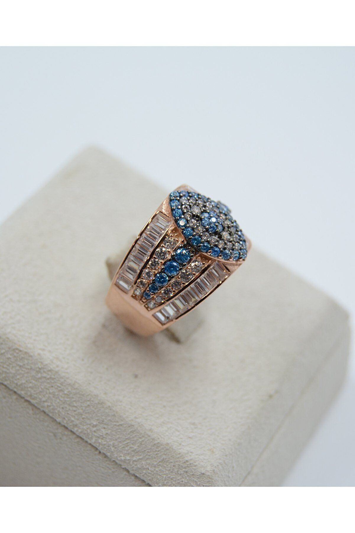 Swarovski Göz Desenli Mavi Zirkon Taşlı 925 Ayar Gümüş Kadın Yüzük
