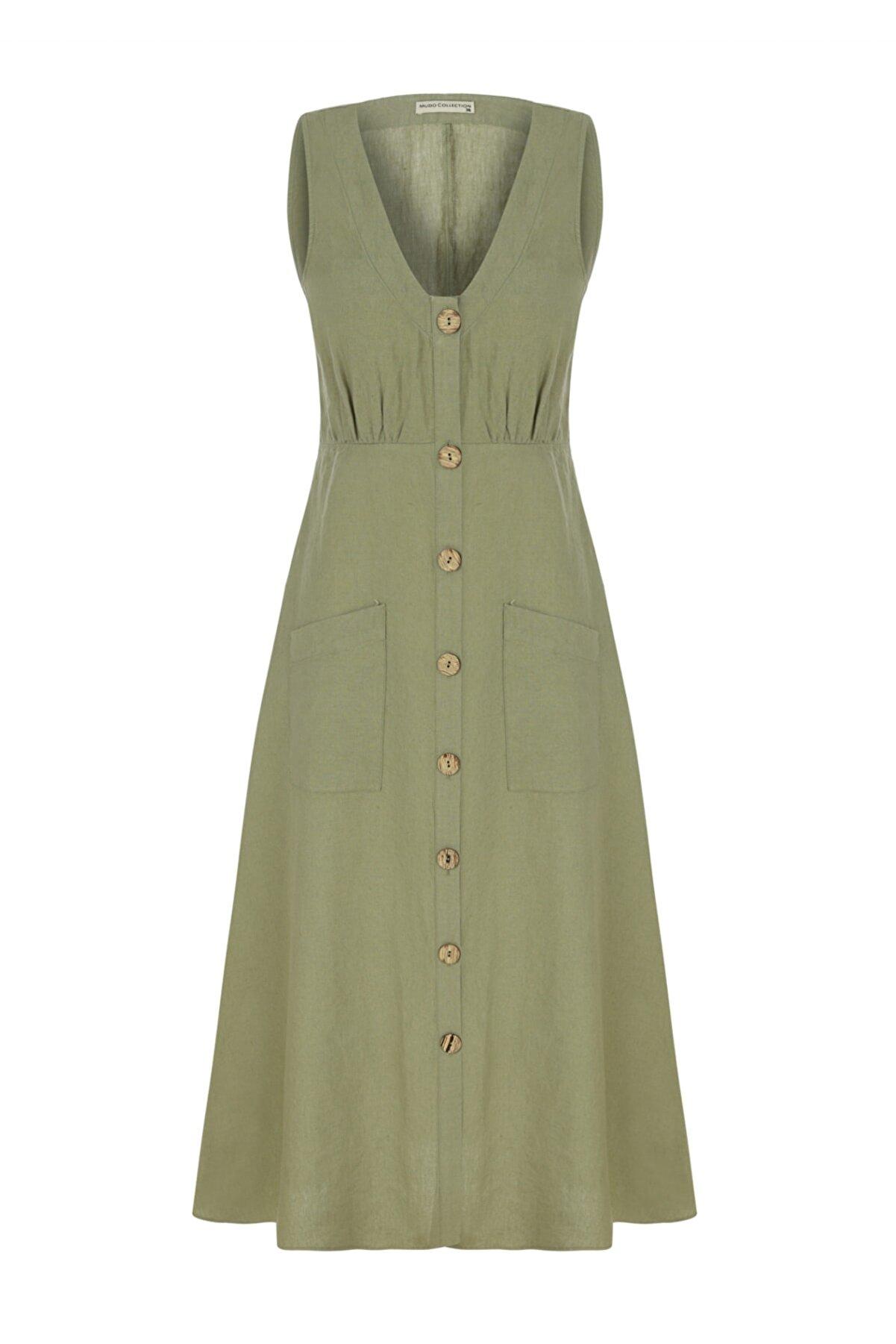 Mudo Kadın Siyah Düğmeli Midi Keten Elbise 1216973