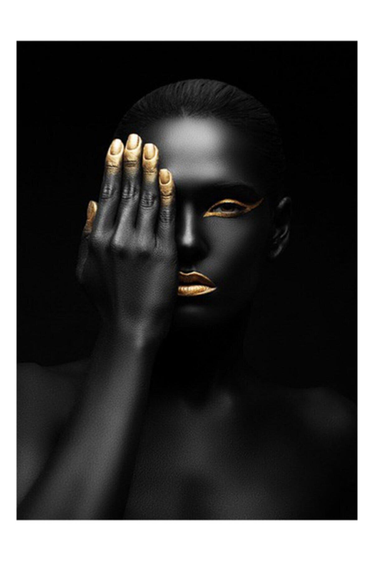 Hobimania Kanvas Tablo Afrikalı Kadın Gözünü Kapatan 50x70 Cm Duvar Dekorasyon Moda Tablo