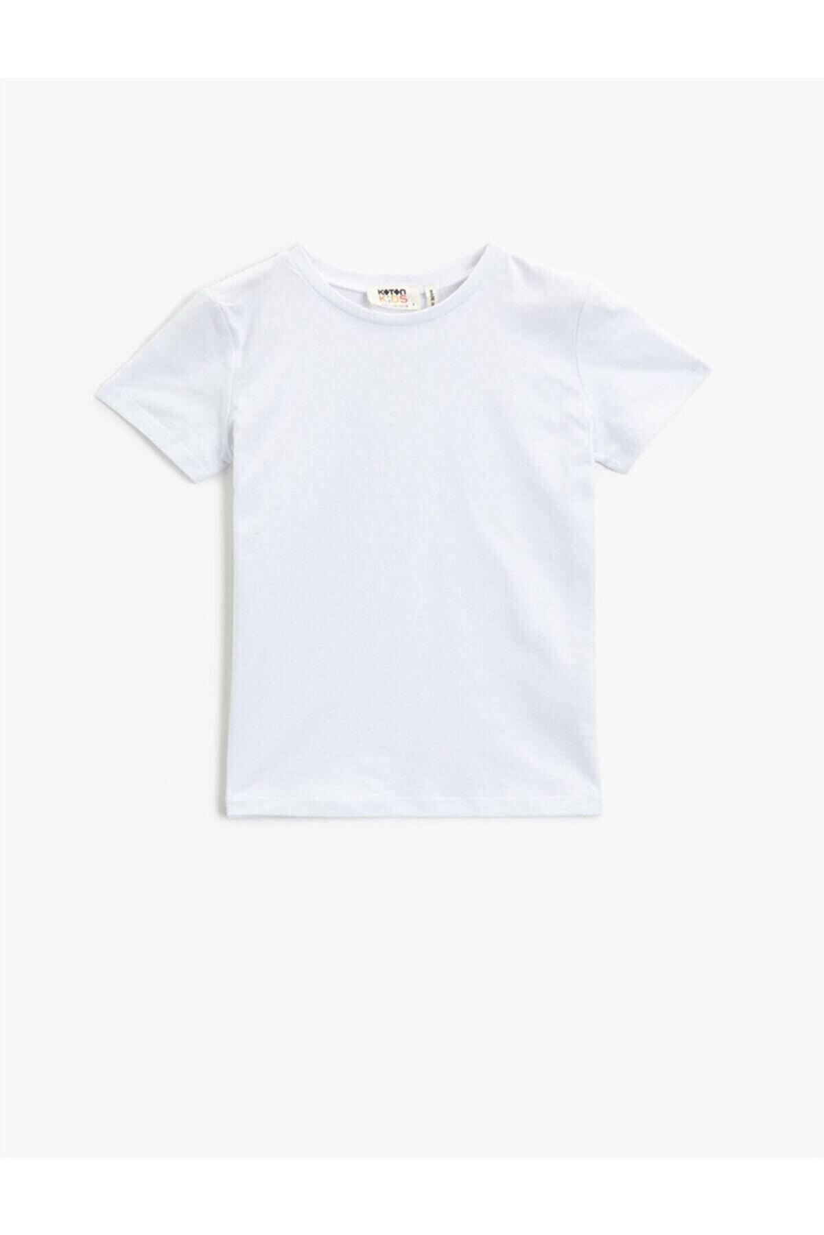 Koton Kız Çocuk Beyaz Kisa Kollu Pamuklu Bisiklet Yaka  T-Shirt