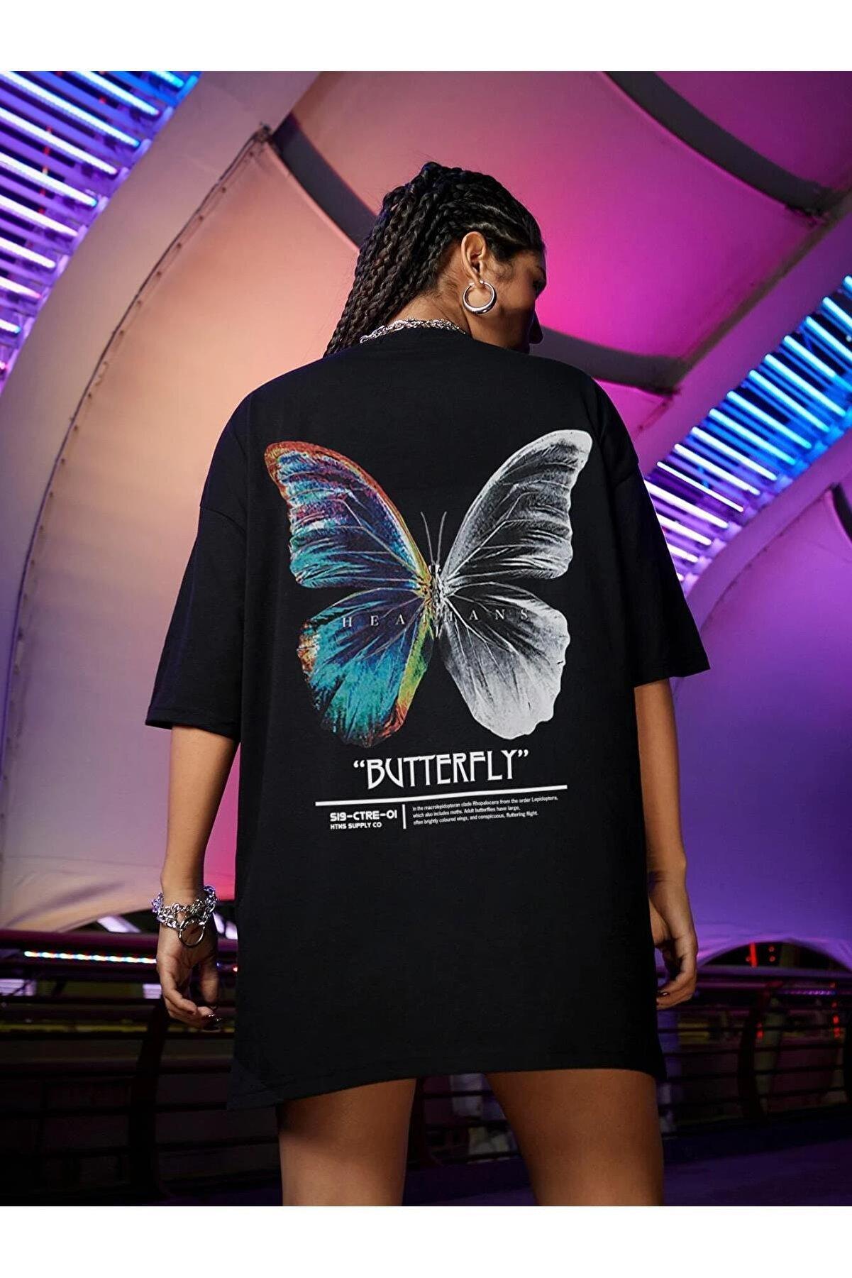 Millionaire Kadın Siyah Butterfly Oversize T-shirt