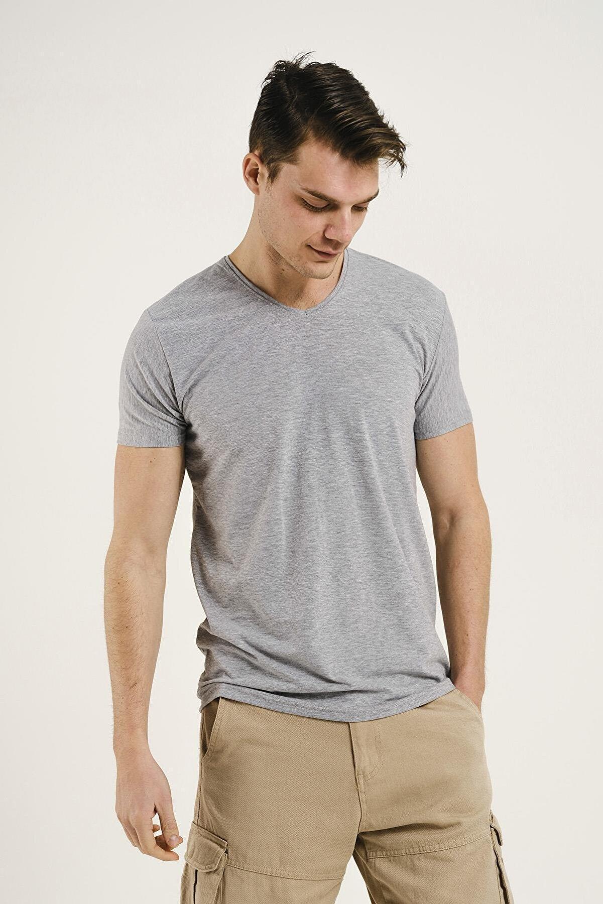 Oksit Erkek Riley V Yaka Slim Fit Basic  T-Shirt