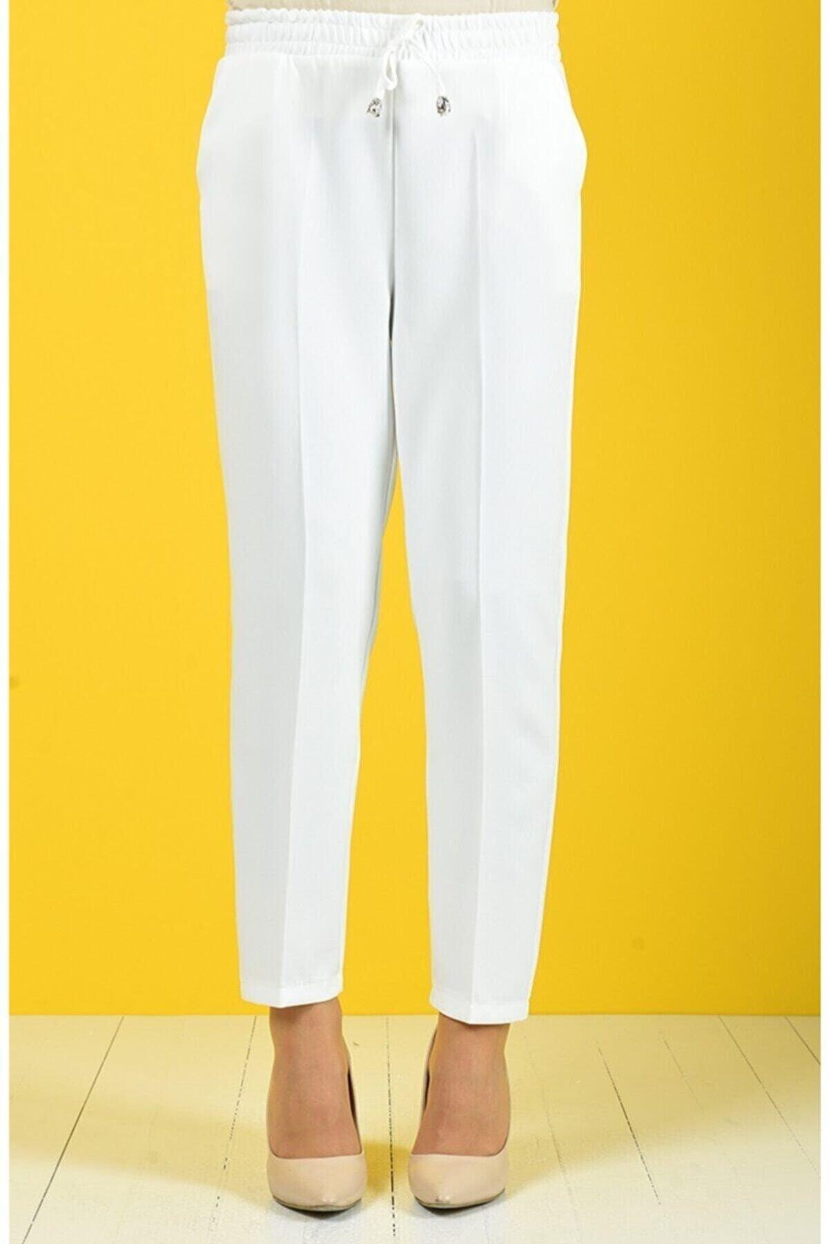 Ravza giyim Kadın Beyaz Lastikli Havuç Pantolon