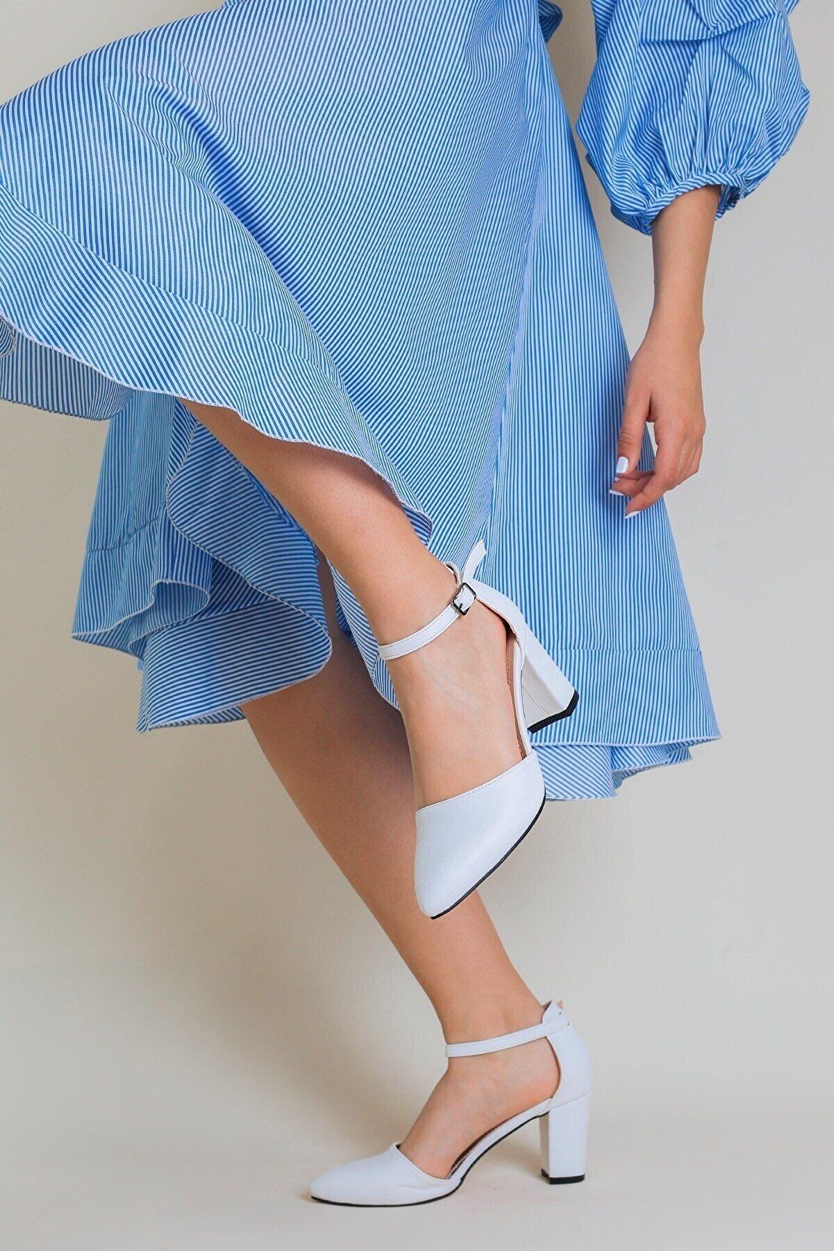 rpt ayakkabı Jamı Kadın Topuklu Açık Ayakkabı Cilt Beyaz