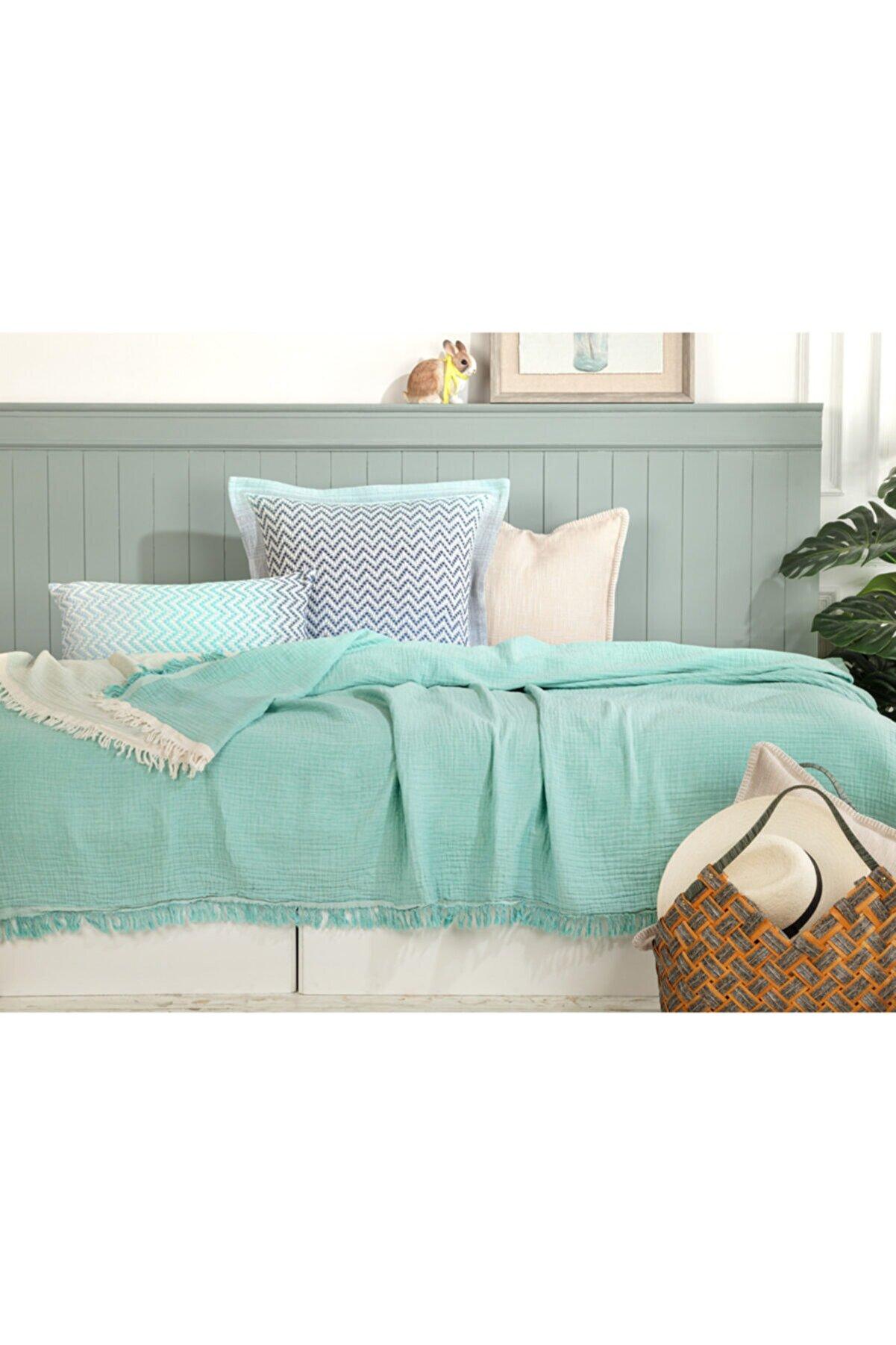 Madame Coco Florinda Tek Kişilik Müslin Yatak Örtüsü - Mint Yeşili